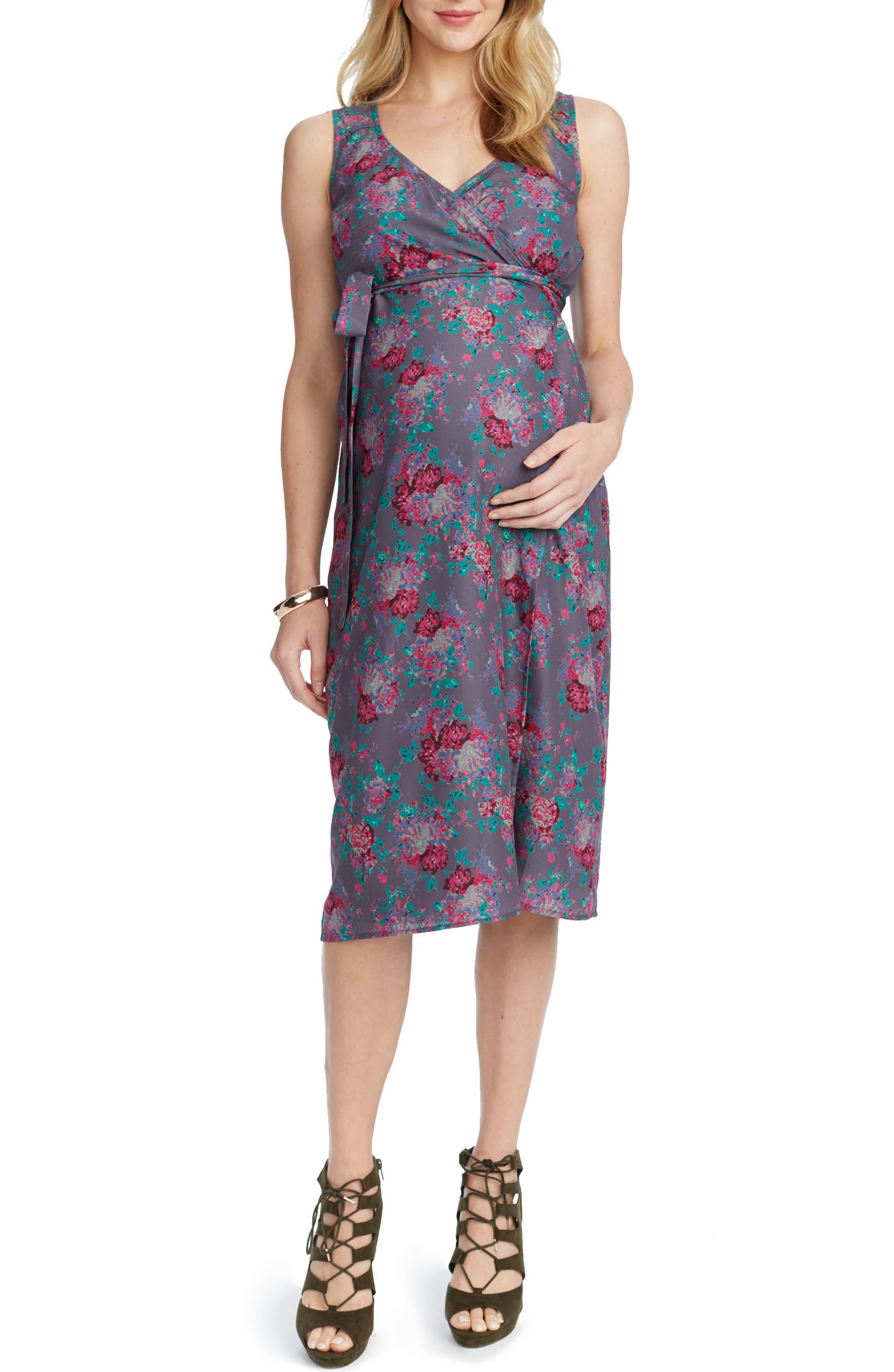 Tara Floral Maternity/Nursing Wrap Dress,                             Alternate thumbnail 3, color,                             SLATE COMBO