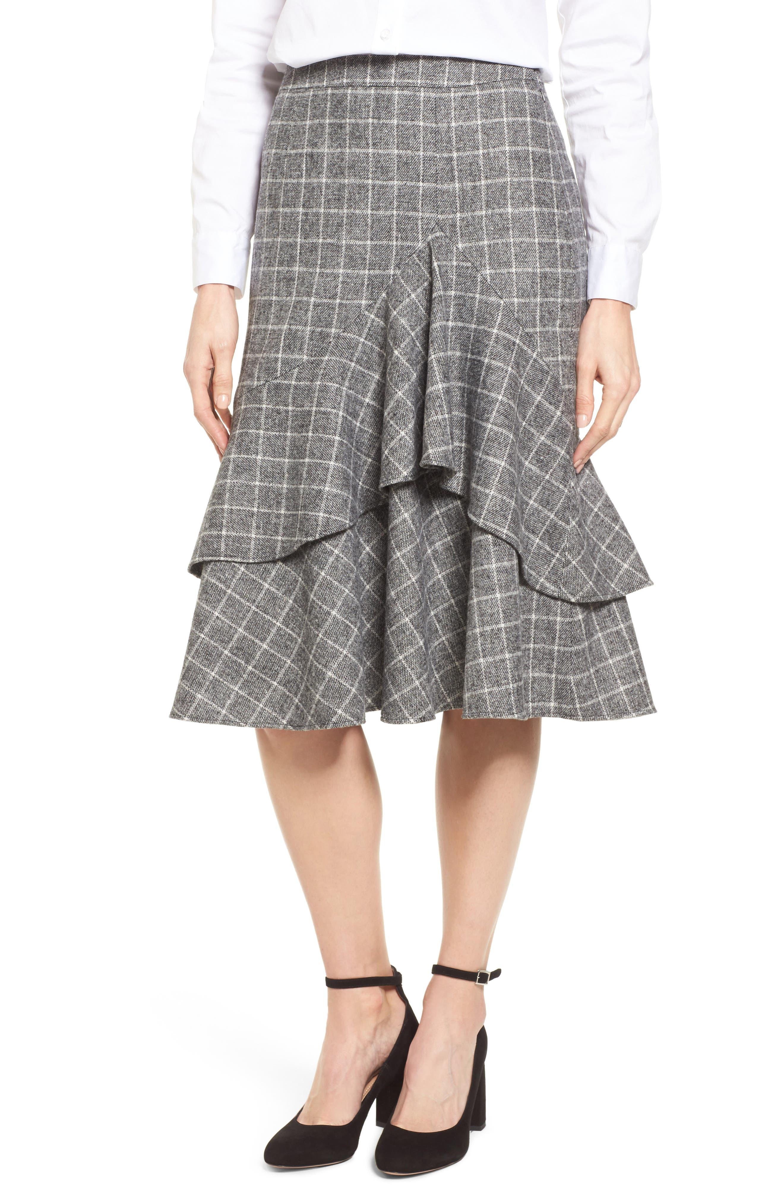Windowpane Print Ruffle Skirt,                             Main thumbnail 1, color,                             001