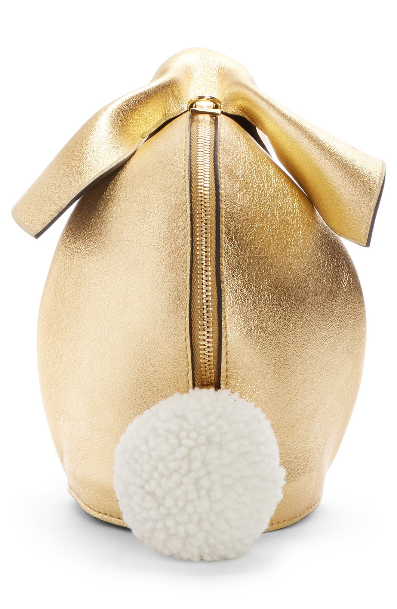 Mini Bunny Metallic Leather Crossbody Bag with Genuine Shearling Trim,                             Alternate thumbnail 3, color,                             710