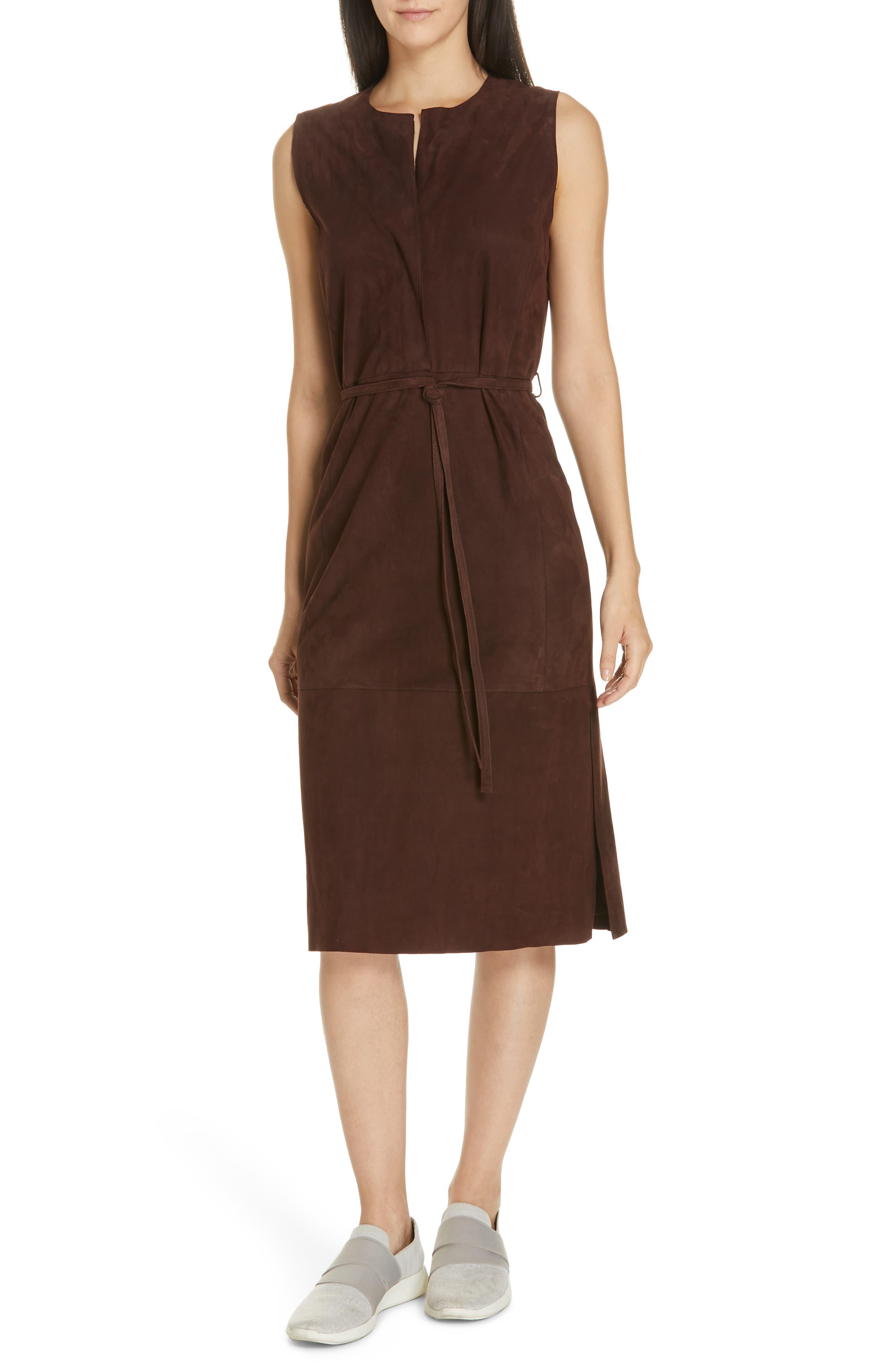 Belted Suede Sleeveless Midi Dress in Black Truffle