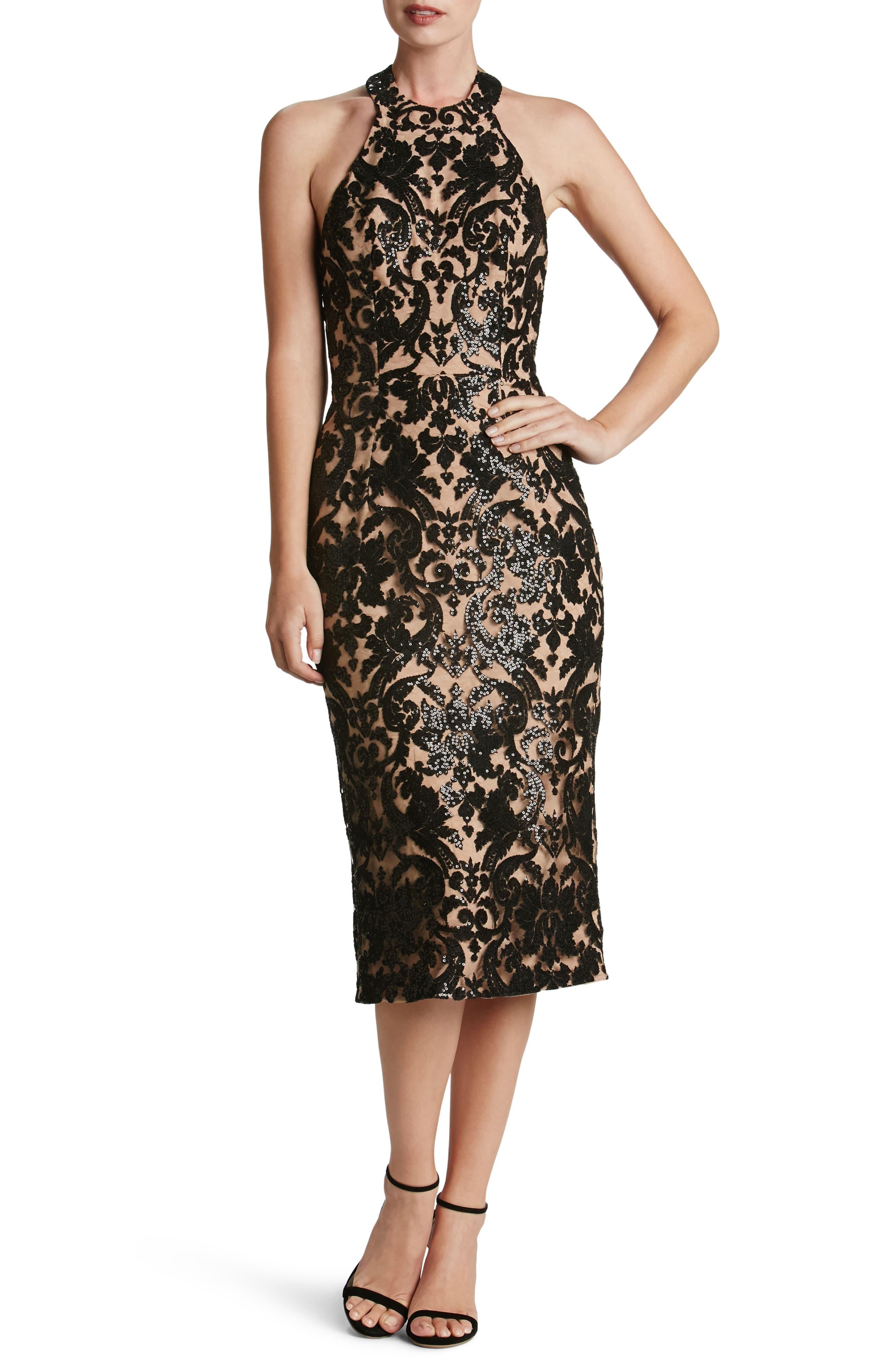 Cassie Sequin Midi Dress,                         Main,                         color, 002