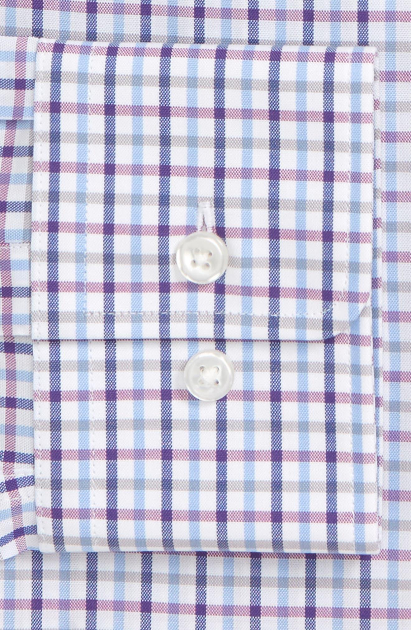 Sharp Fit Mark Check Dress Shirt,                             Alternate thumbnail 6, color,                             PURPLE