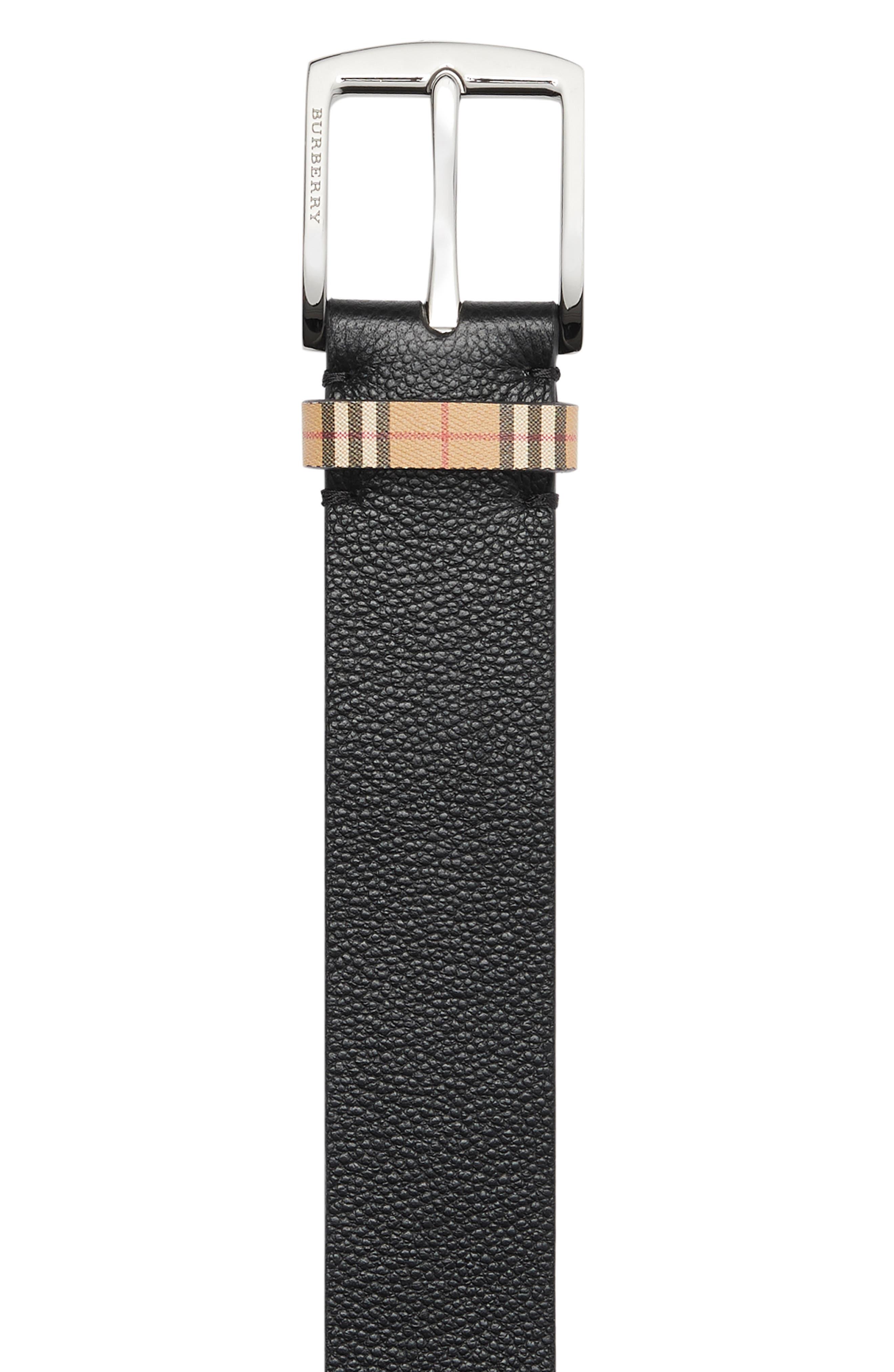 BURBERRY,                             Grainy Leather Belt,                             Alternate thumbnail 5, color,                             BLACK