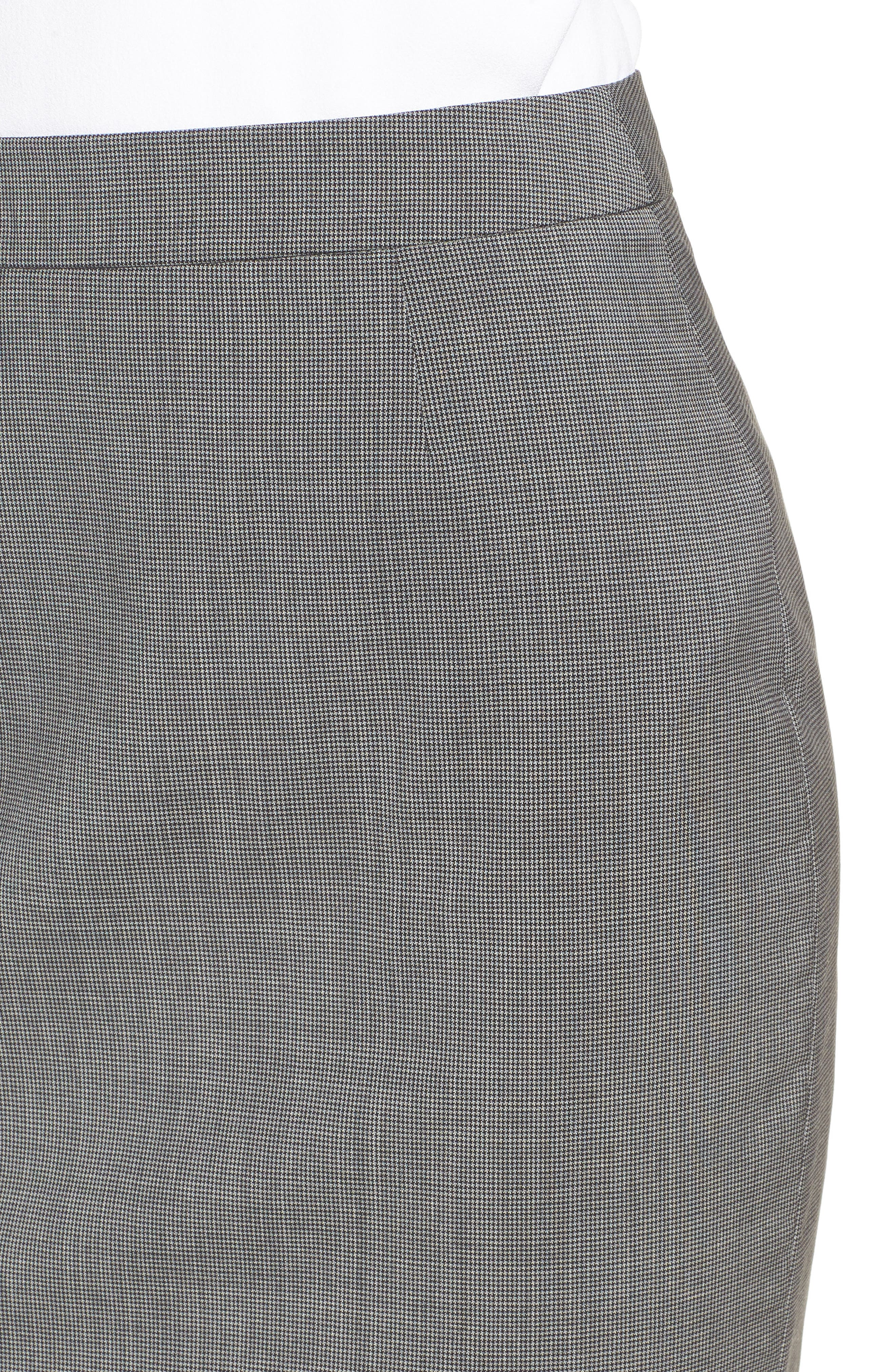 Vimena Mini Houndstooth Stretch Wool Pencil Skirt,                             Alternate thumbnail 4, color,                             060