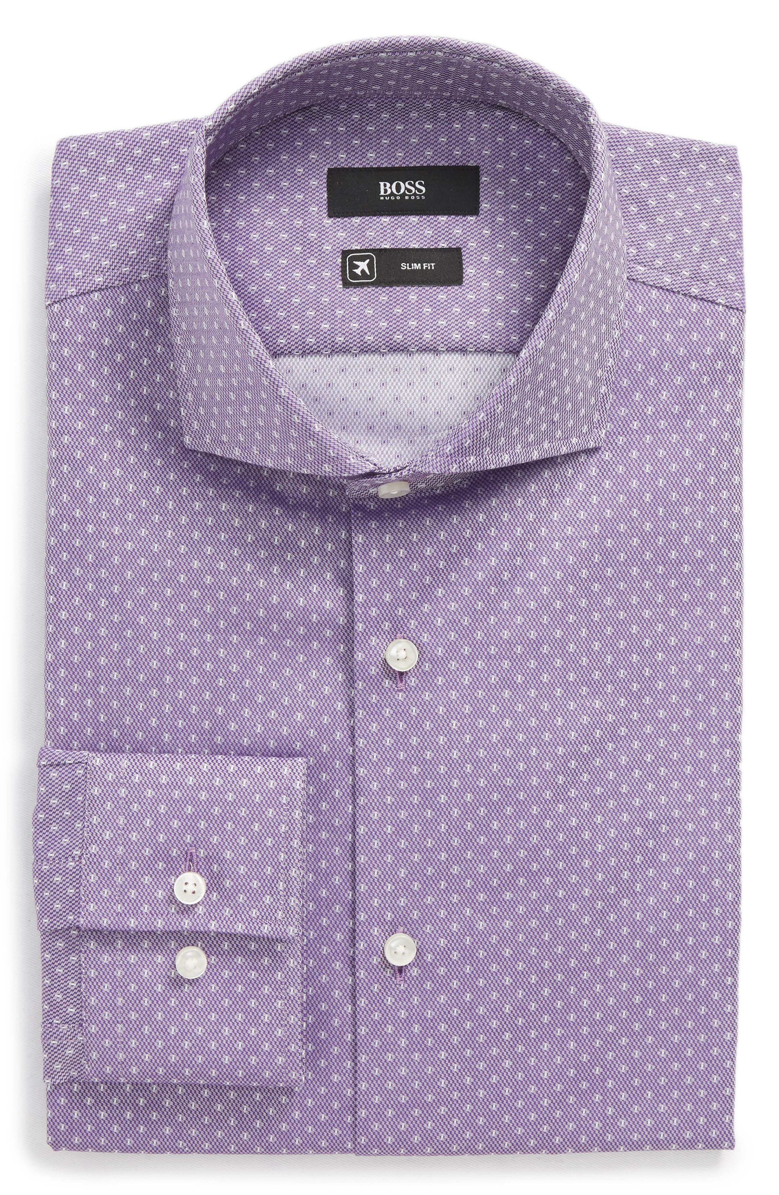 BOSS,                             Jason Slim Fit Dot Dress Shirt,                             Main thumbnail 1, color,                             512