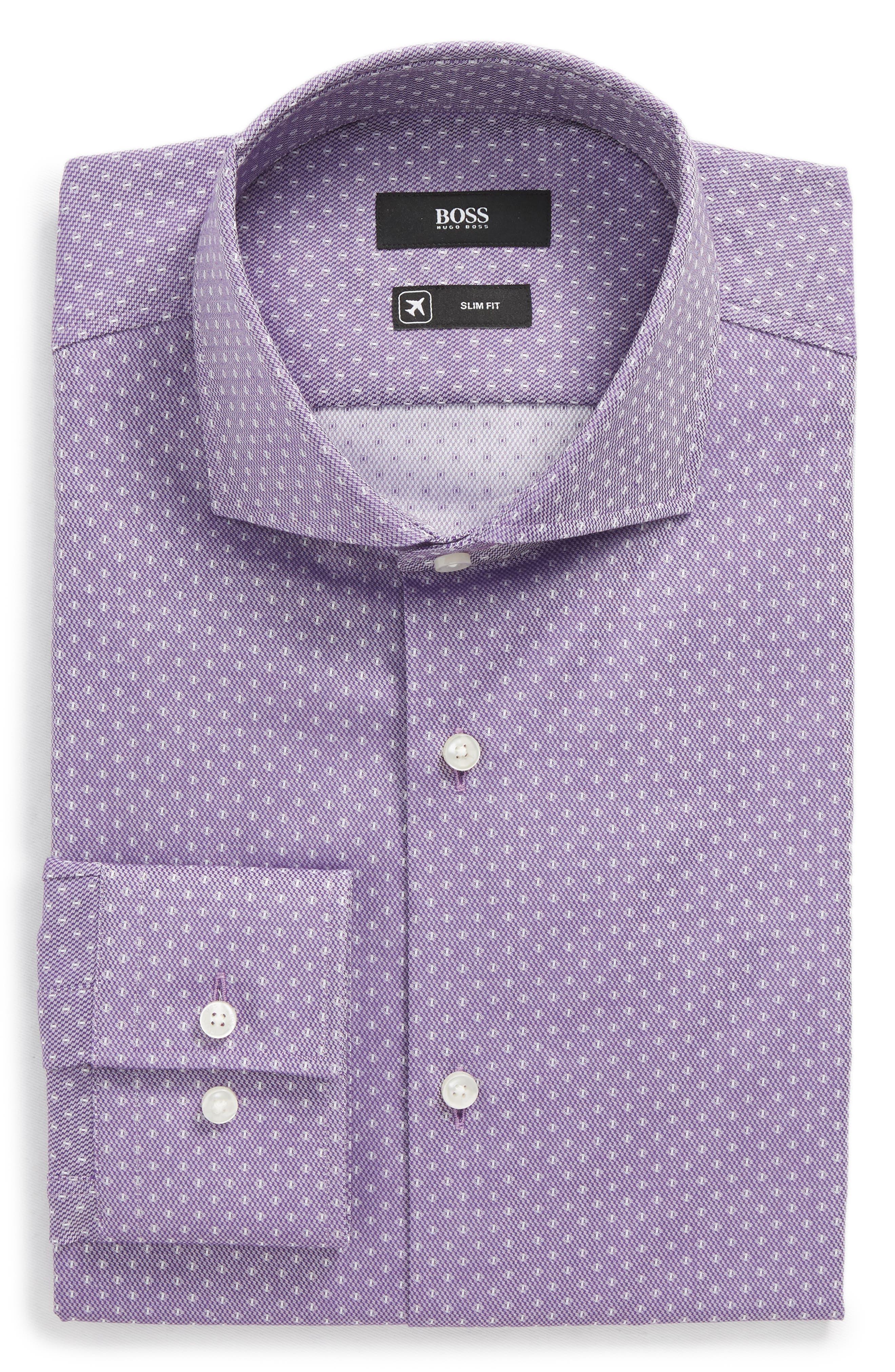 BOSS Jason Slim Fit Dot Dress Shirt, Main, color, 512