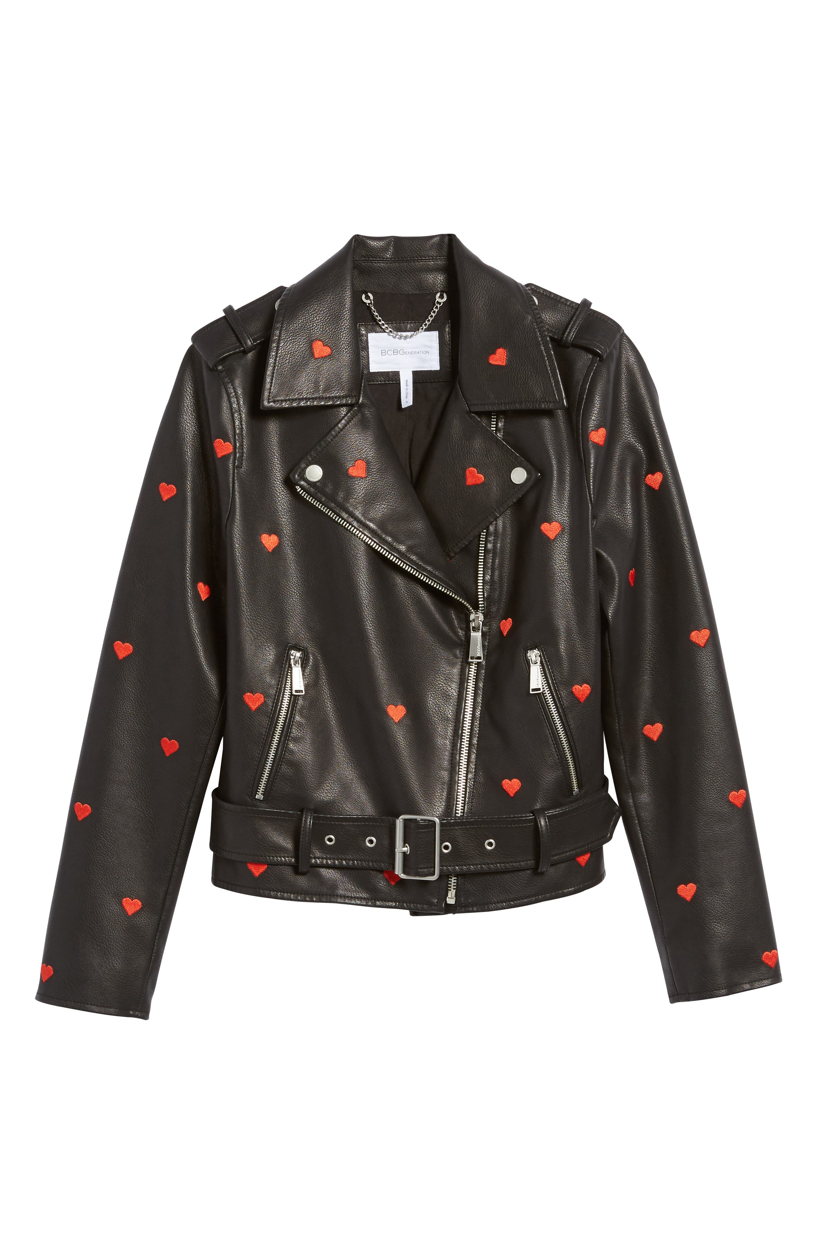Heart Embroidered Faux Leather Moto Jacket,                             Alternate thumbnail 5, color,                             001