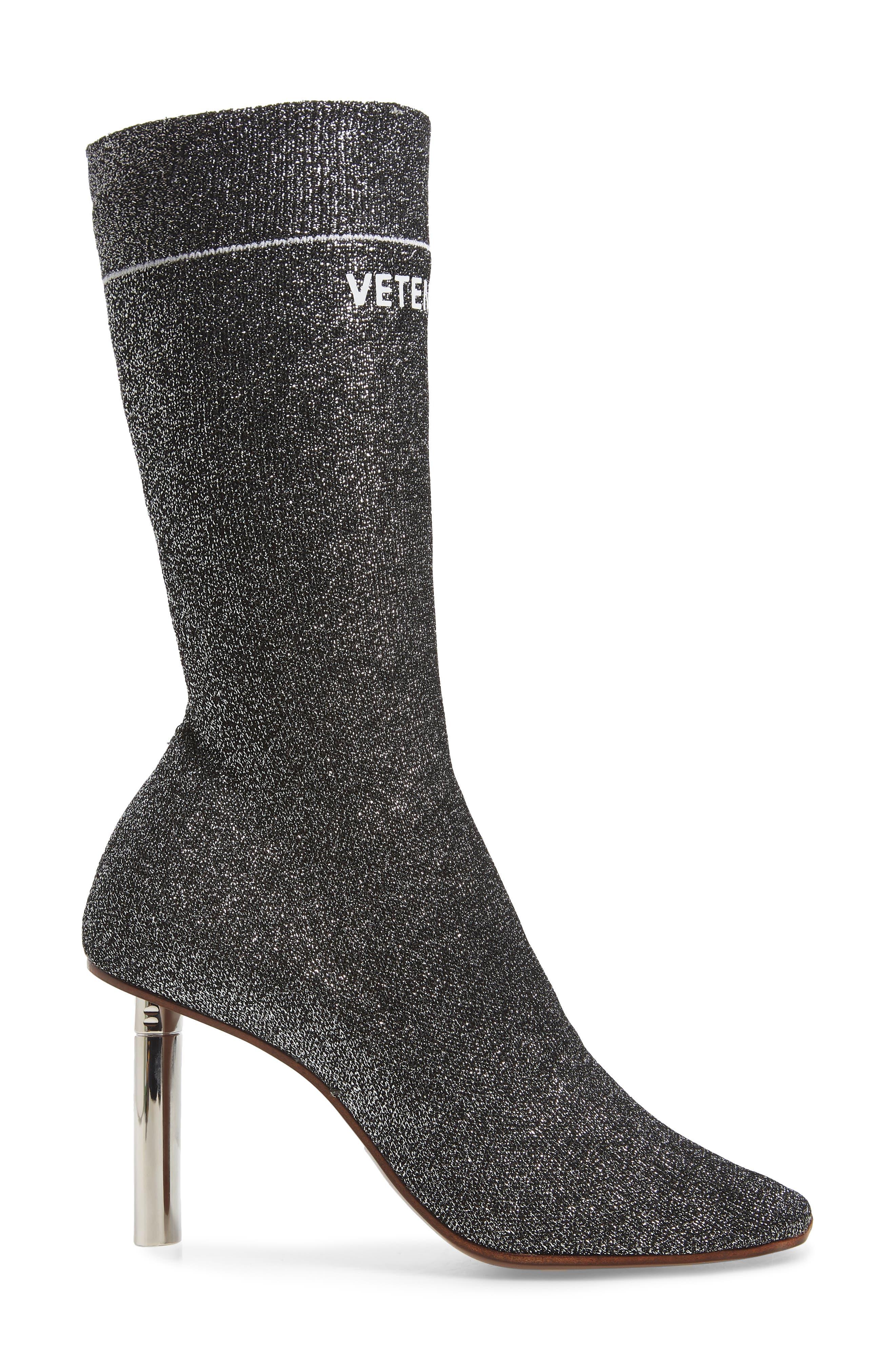 Lurex Sock Boot,                             Alternate thumbnail 3, color,                             SILVER/SILVER HEEL - 814
