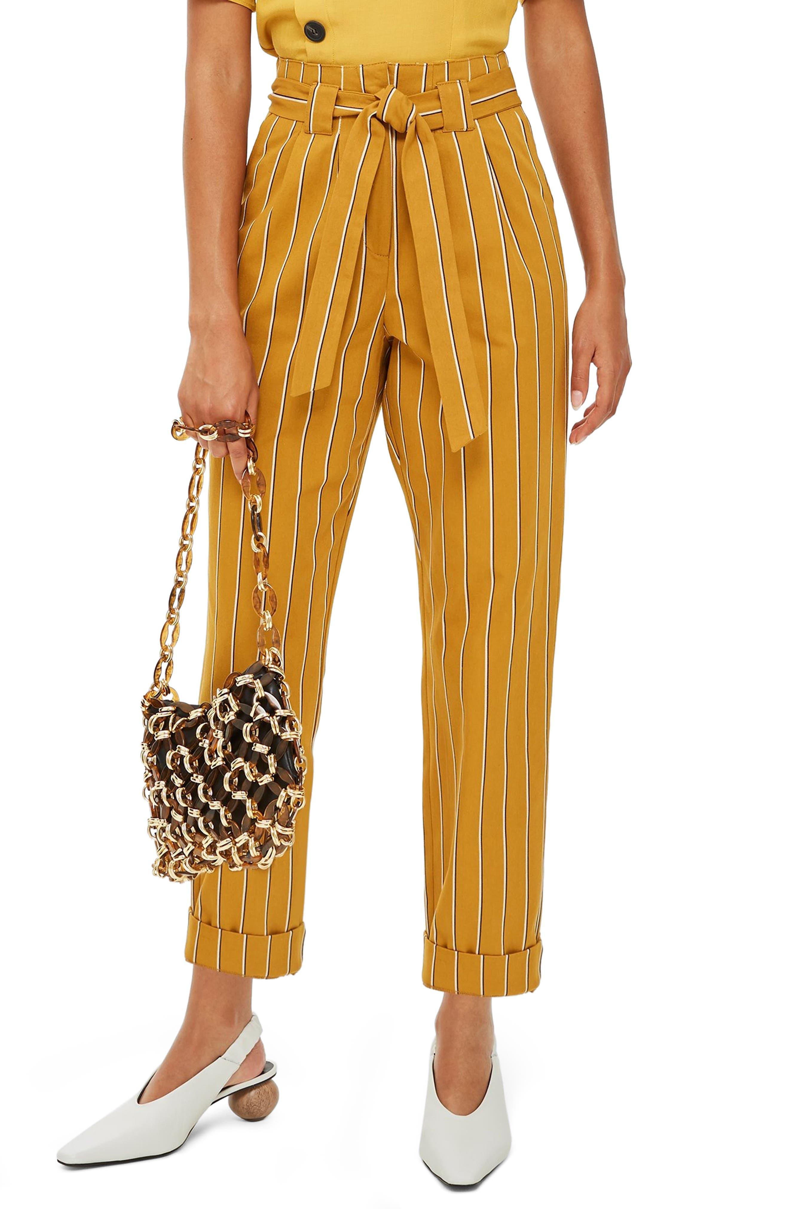 Polly Stripe Peg Trousers,                         Main,                         color, MUSTARD MULTI