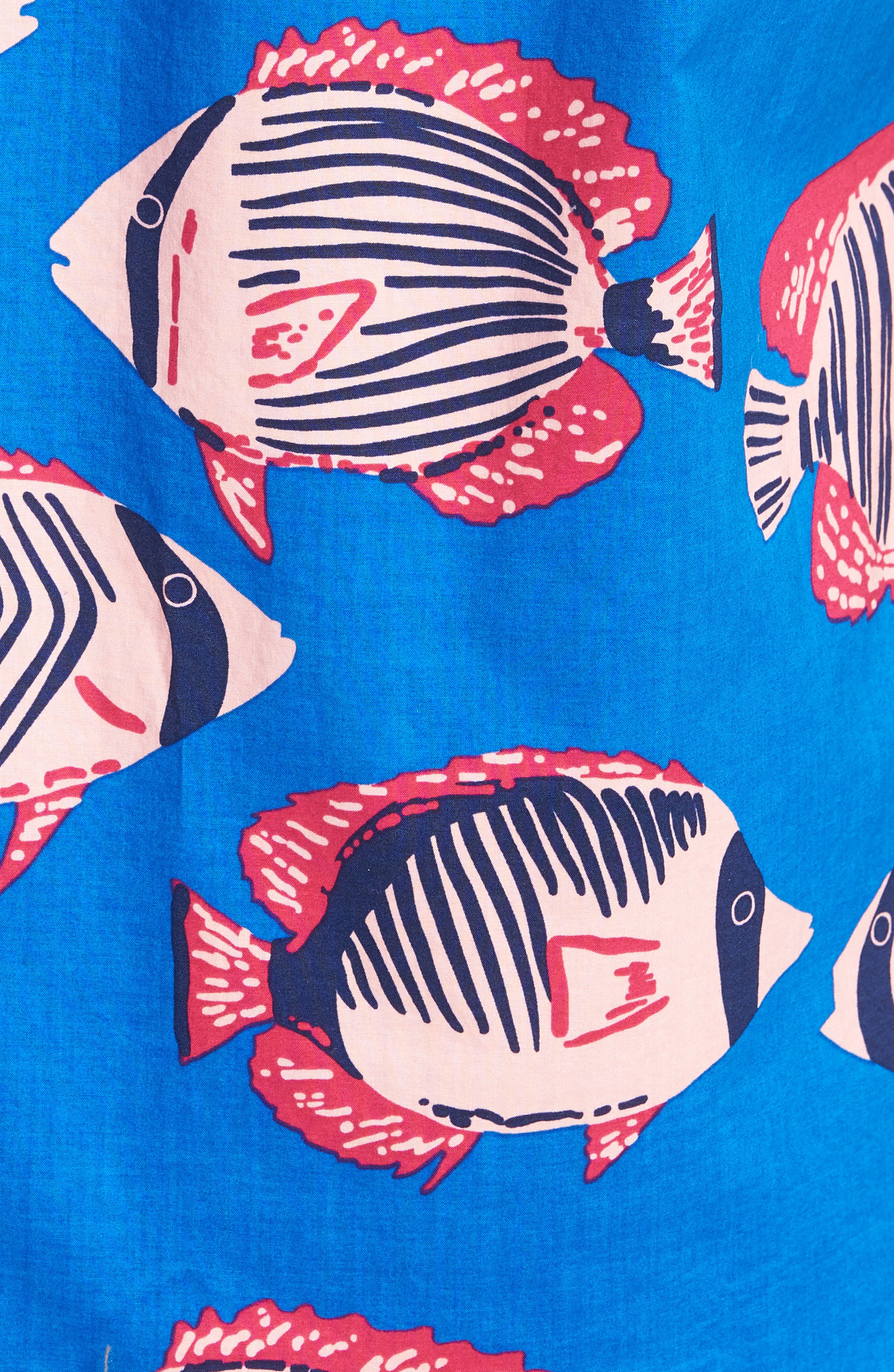 Riviera Slim Fit Fish Print Sport Shirt,                             Alternate thumbnail 5, color,