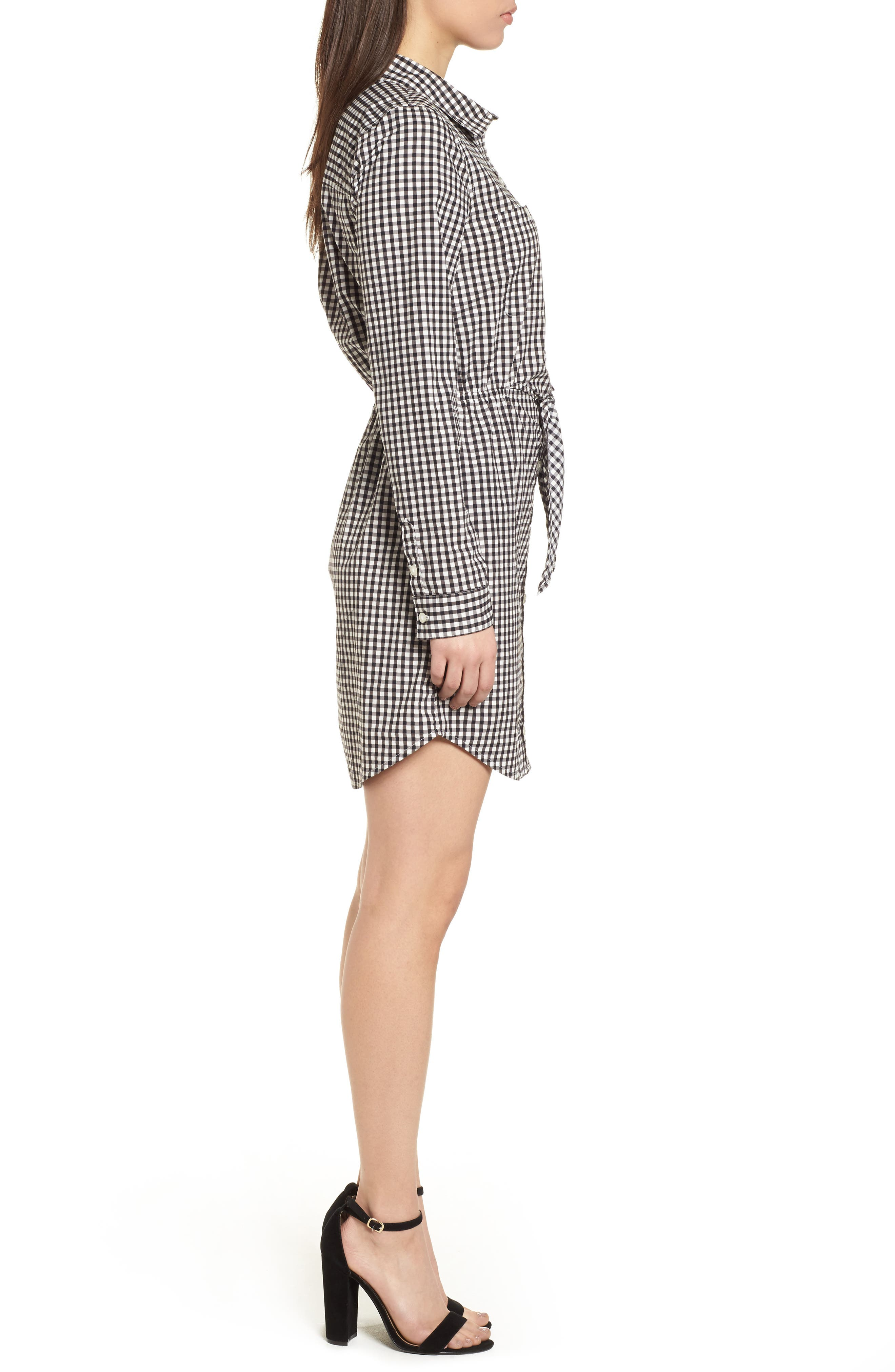 Tie Front Gingham Shirtdress,                             Alternate thumbnail 3, color,                             011