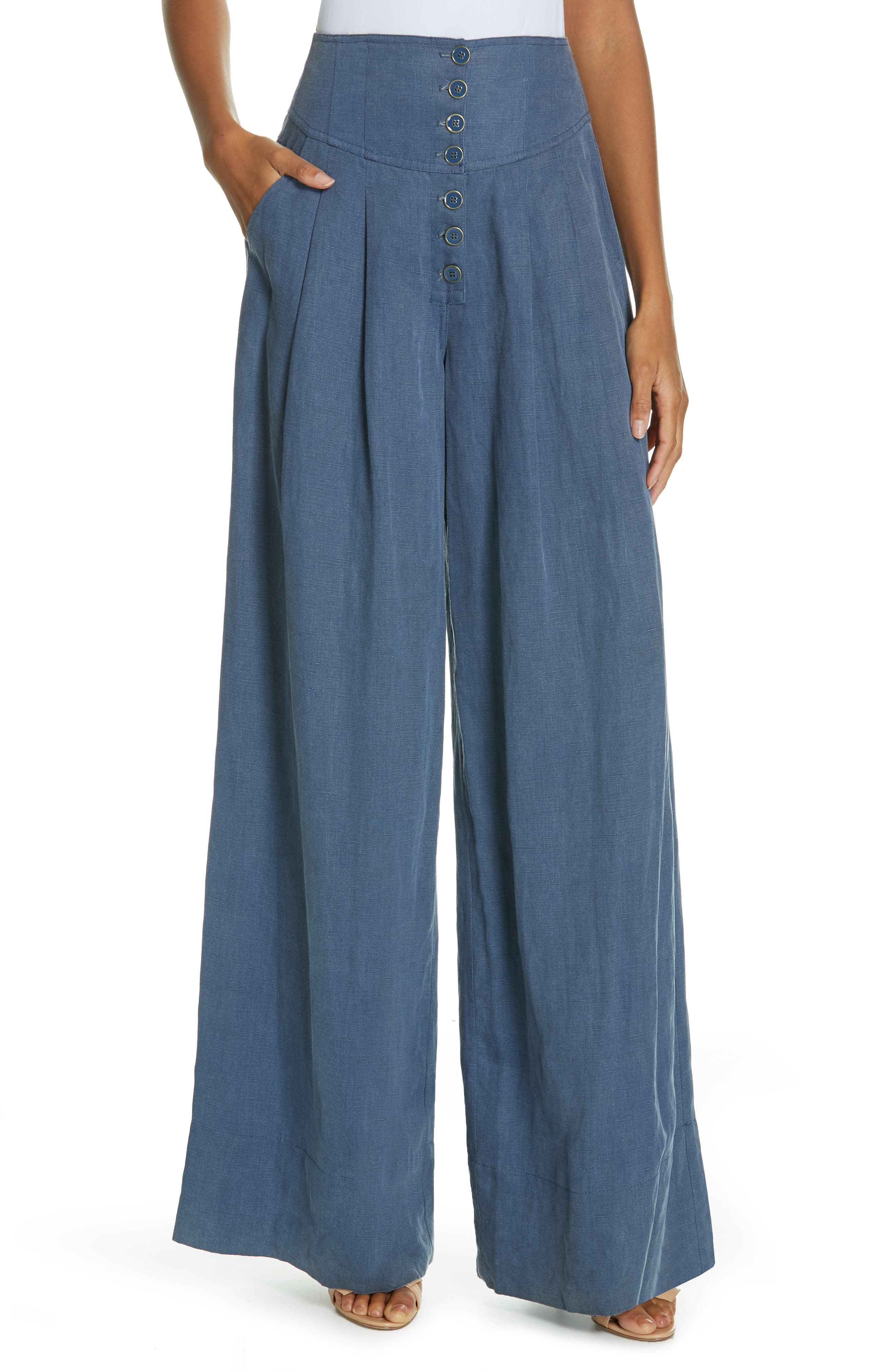 Reid Wide Leg Trousers,                         Main,                         color, CHAMBRAY
