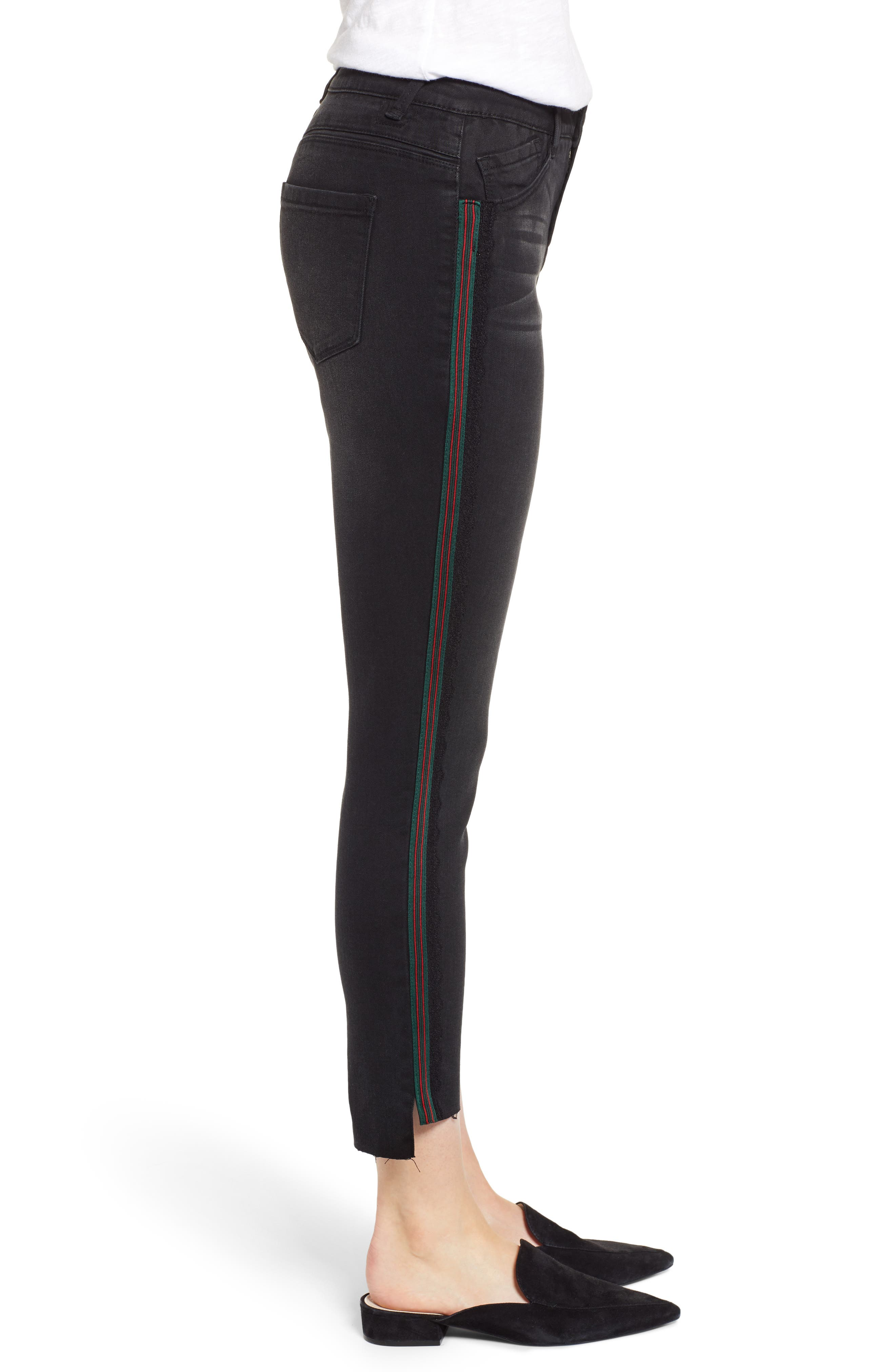 Ab-Solution Stripe High Waist Ankle Skinny Jeans,                             Alternate thumbnail 3, color,                             BLACK