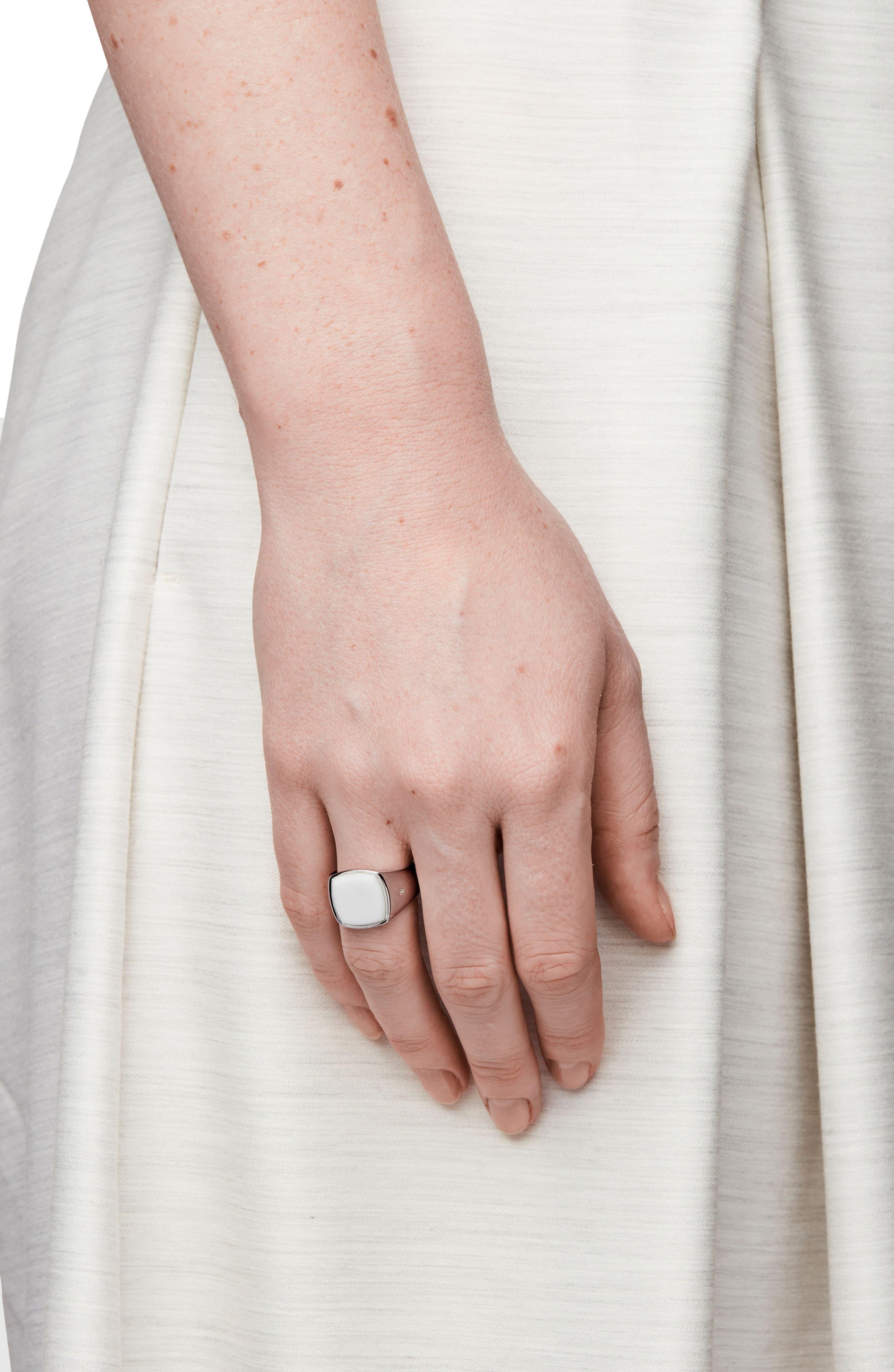 White Agate Cushion Signet Ring,                             Alternate thumbnail 2, color,                             042