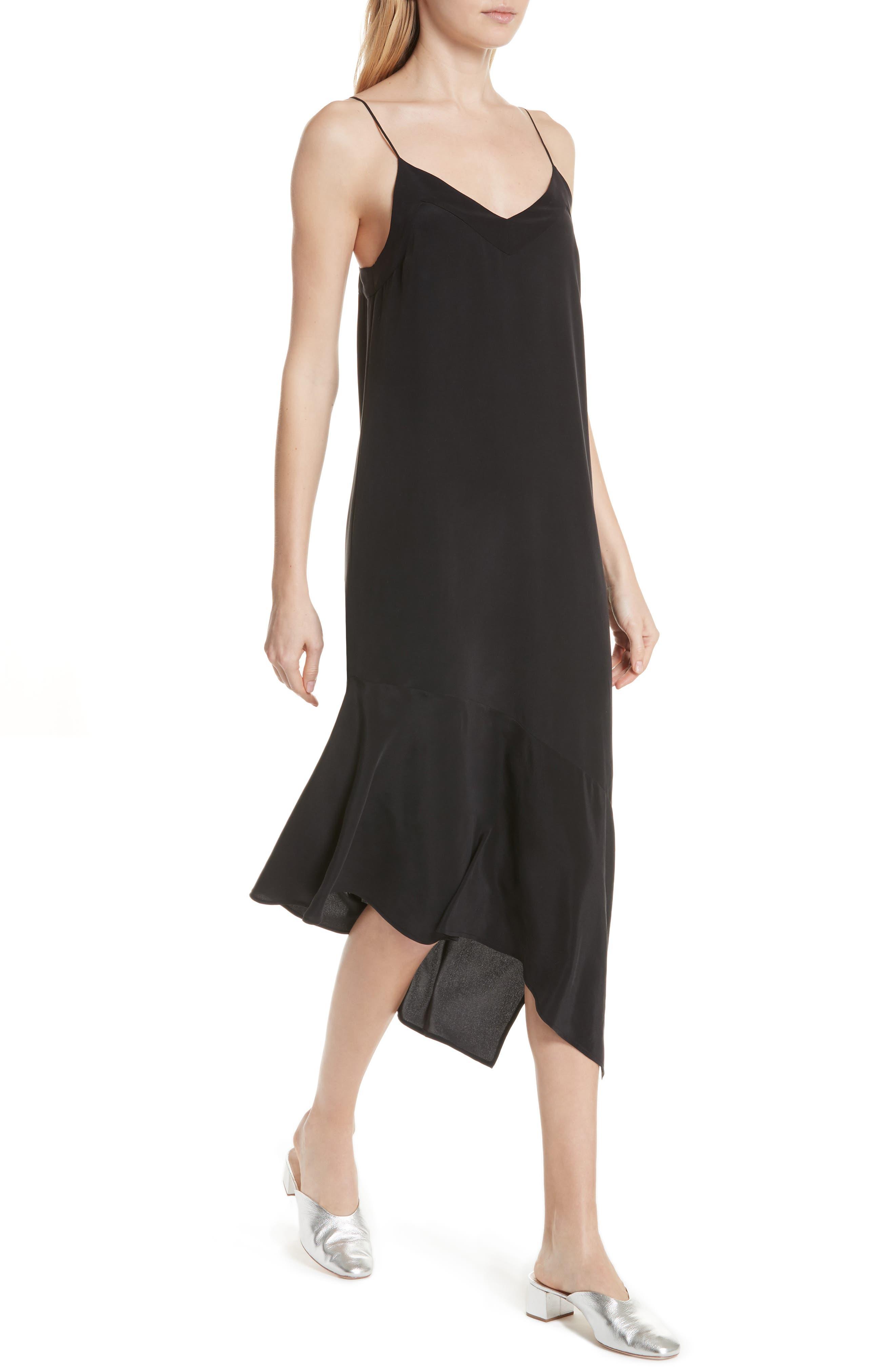 Jada Asymmetrical Silk Slip Dress,                             Alternate thumbnail 4, color,                             003