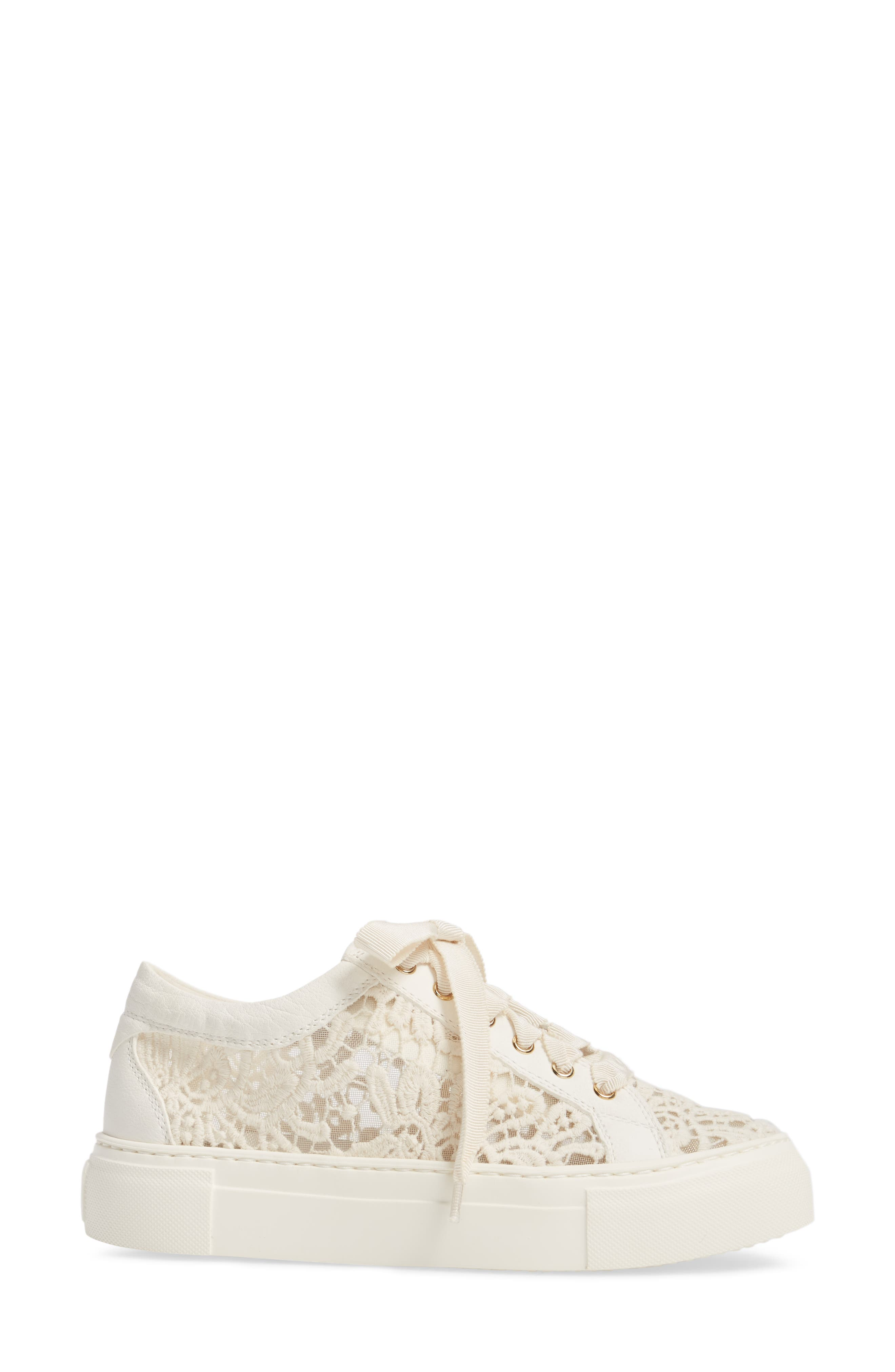 Embroidered Lace Sneaker,                             Alternate thumbnail 3, color,                             OFF WHITE LEATHER