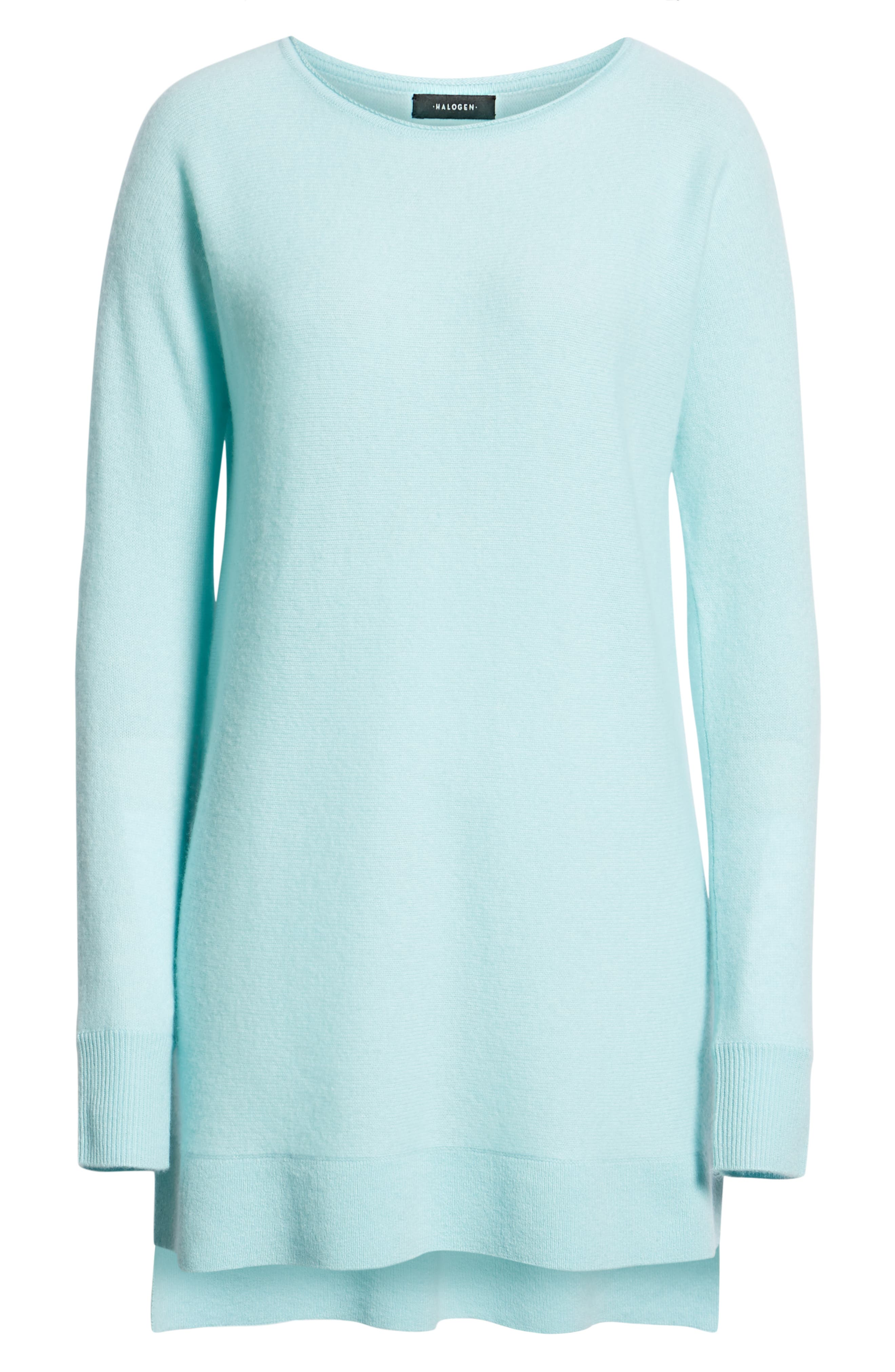 High/Low Wool & Cashmere Tunic Sweater,                             Alternate thumbnail 6, color,                             BLUE RESORT