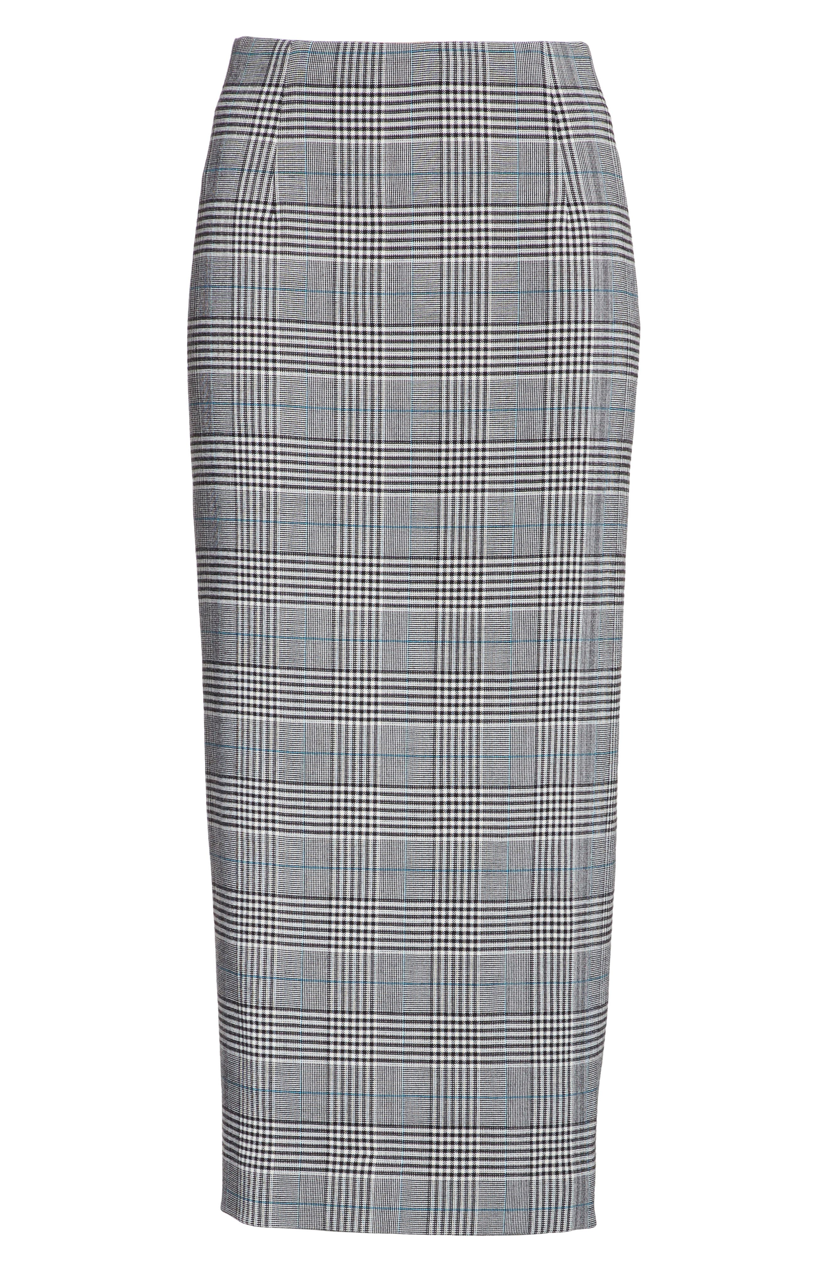 Prince of Wales High Waist Pencil Skirt,                             Alternate thumbnail 6, color,                             001