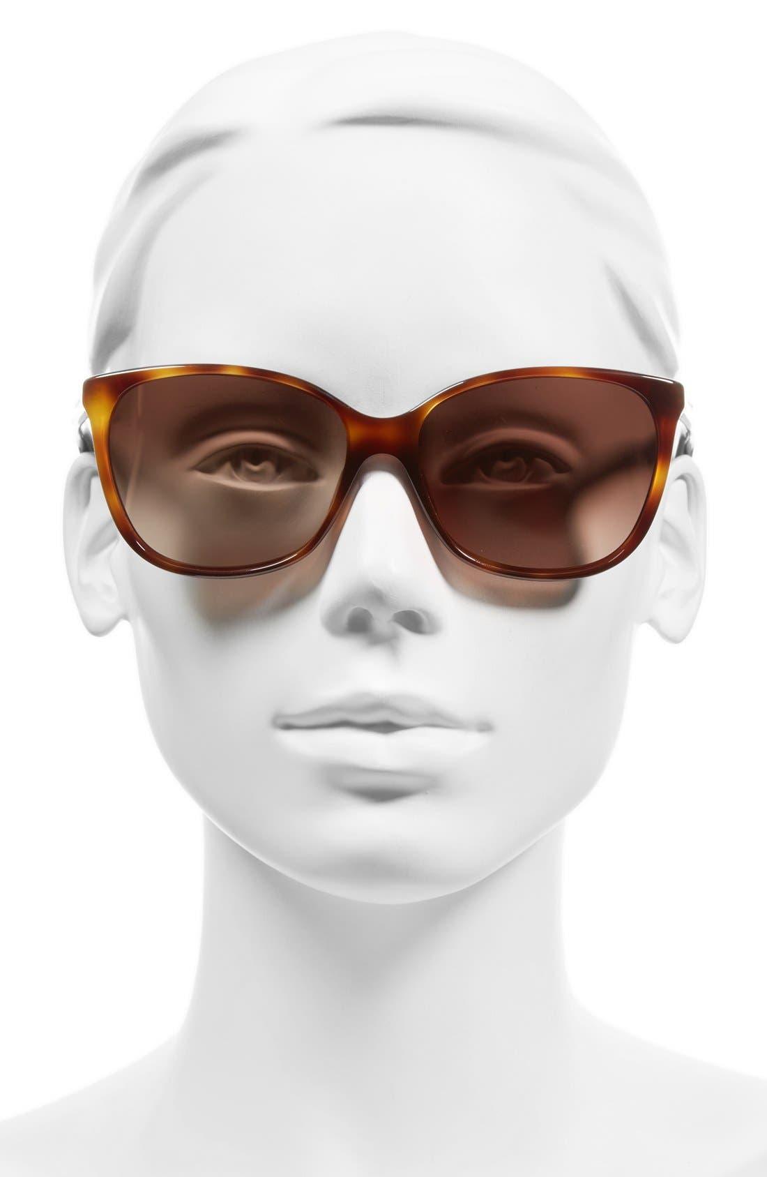 57mm Oversized Sunglasses,                             Alternate thumbnail 2, color,                             HAVANA