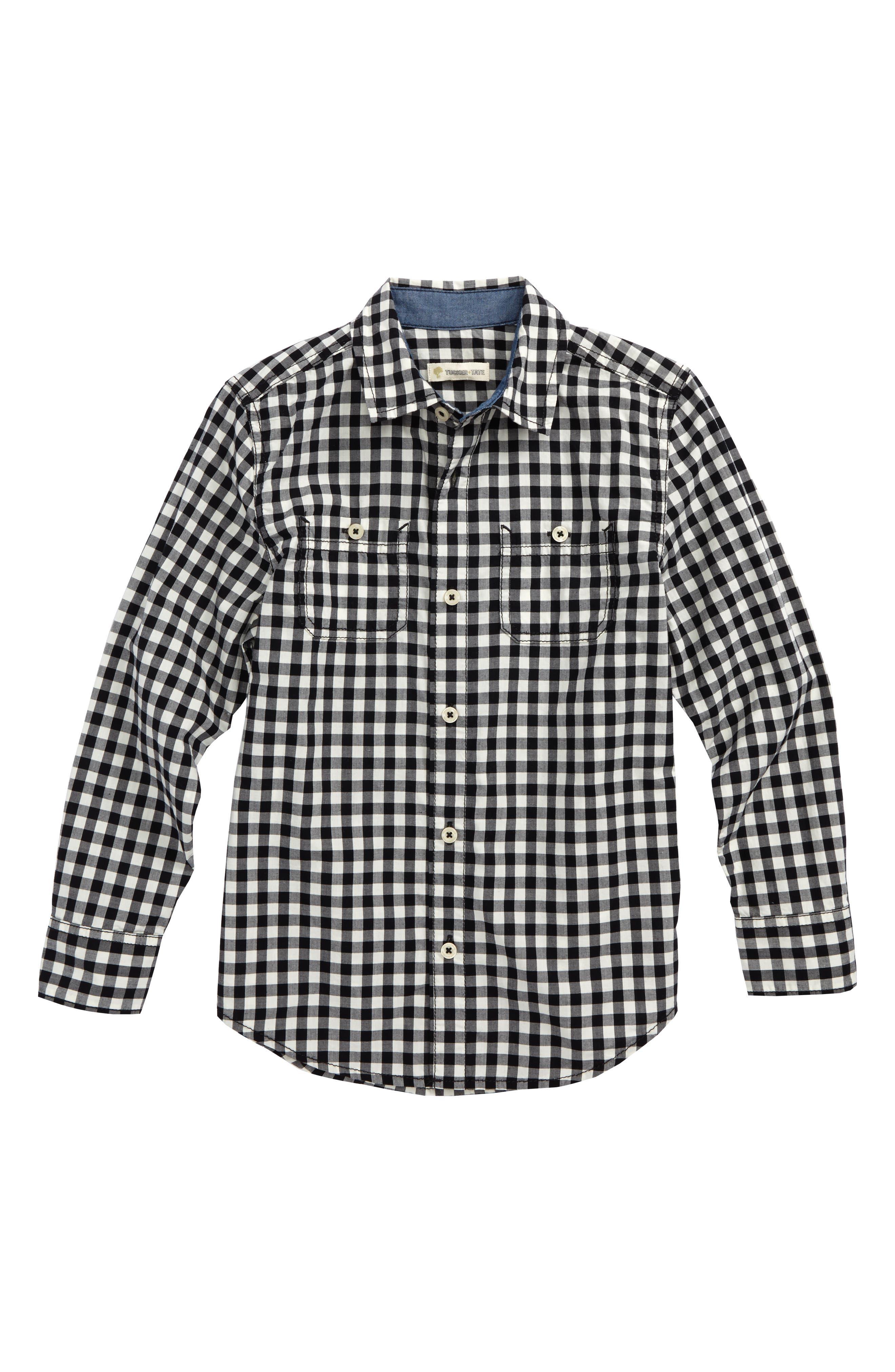 'Photo' Buffalo Plaid Woven Shirt,                             Main thumbnail 1, color,                             BLACK- IVORY GINGHAM