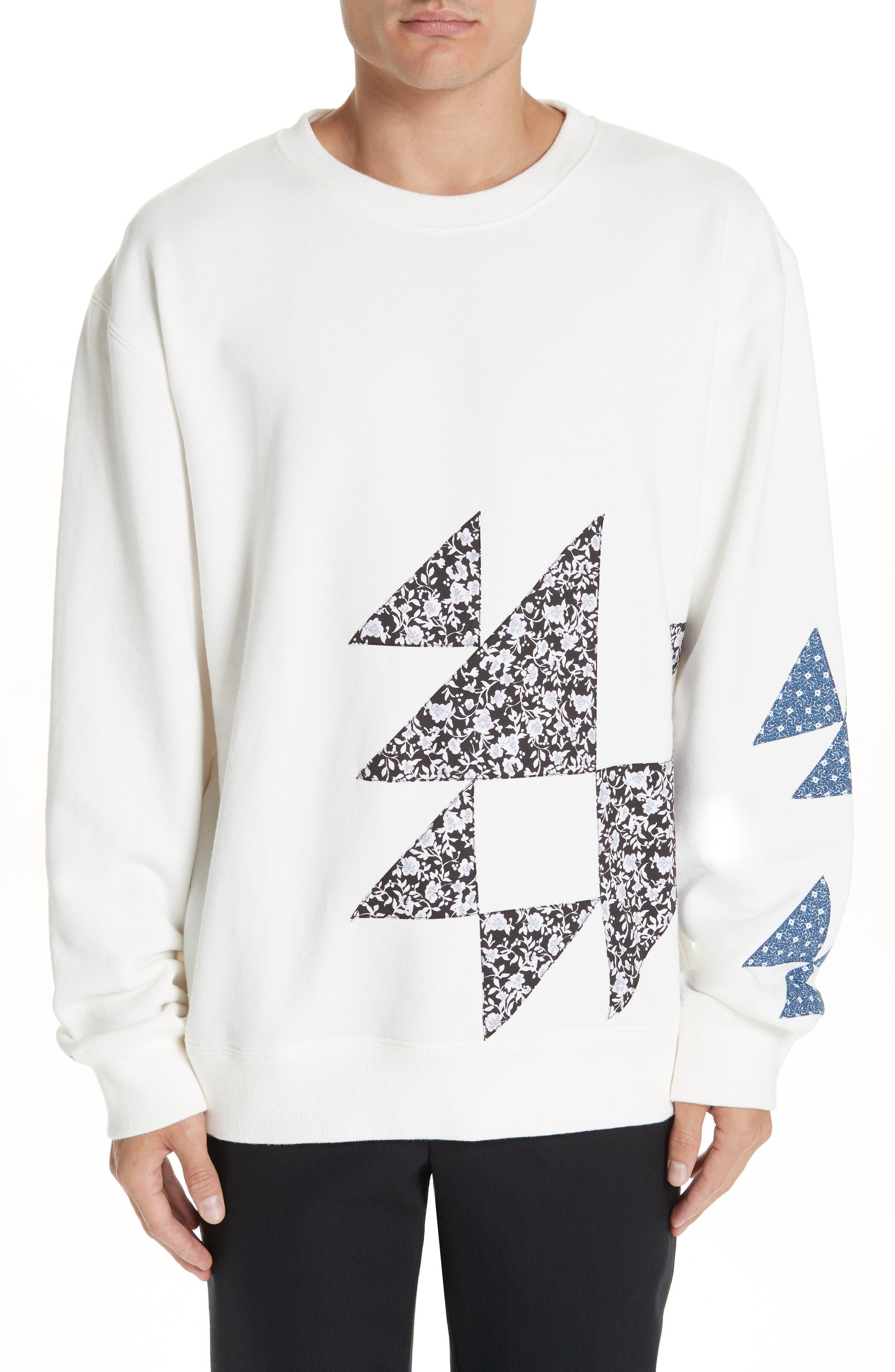 Oversize Patchwork Detail Sweatshirt,                             Main thumbnail 1, color,                             OFF WHITE