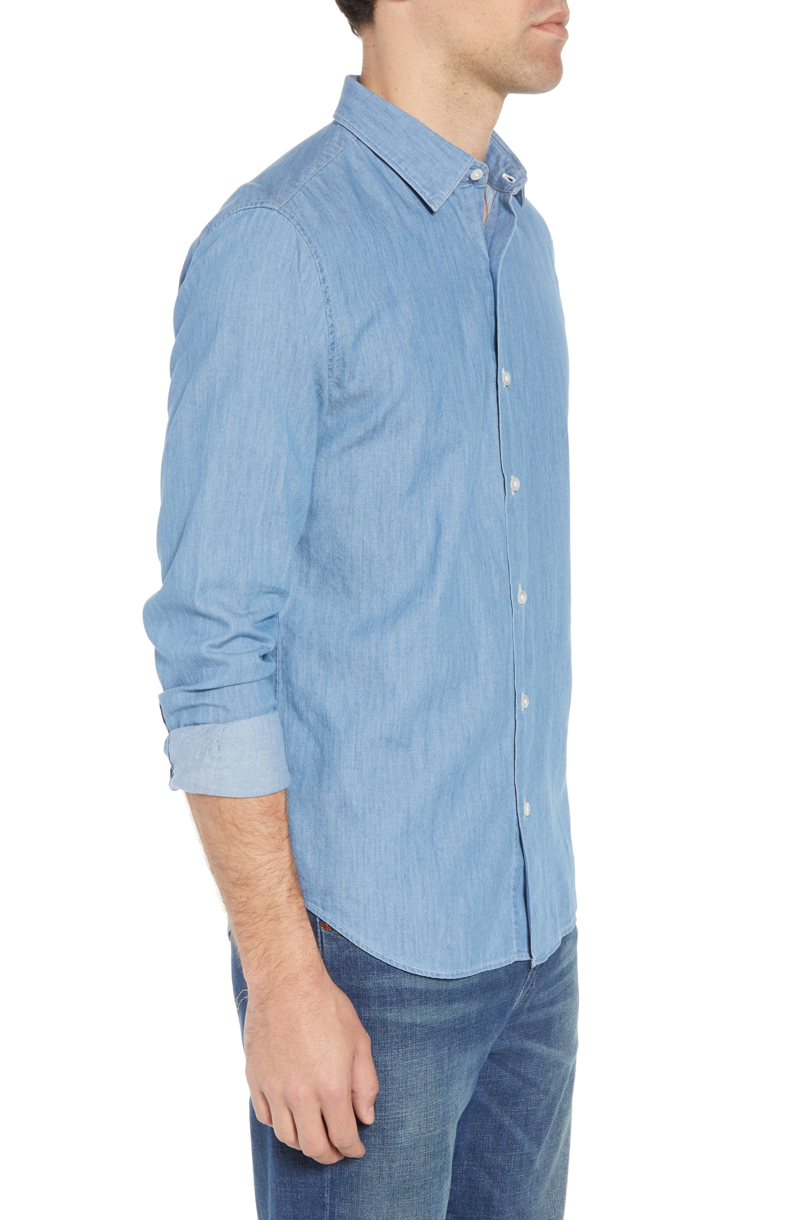Unbutton Down 2.0 Slim Fit Chambray Sport Shirt,                             Alternate thumbnail 3, color,                             SOLID CHAMBRAY