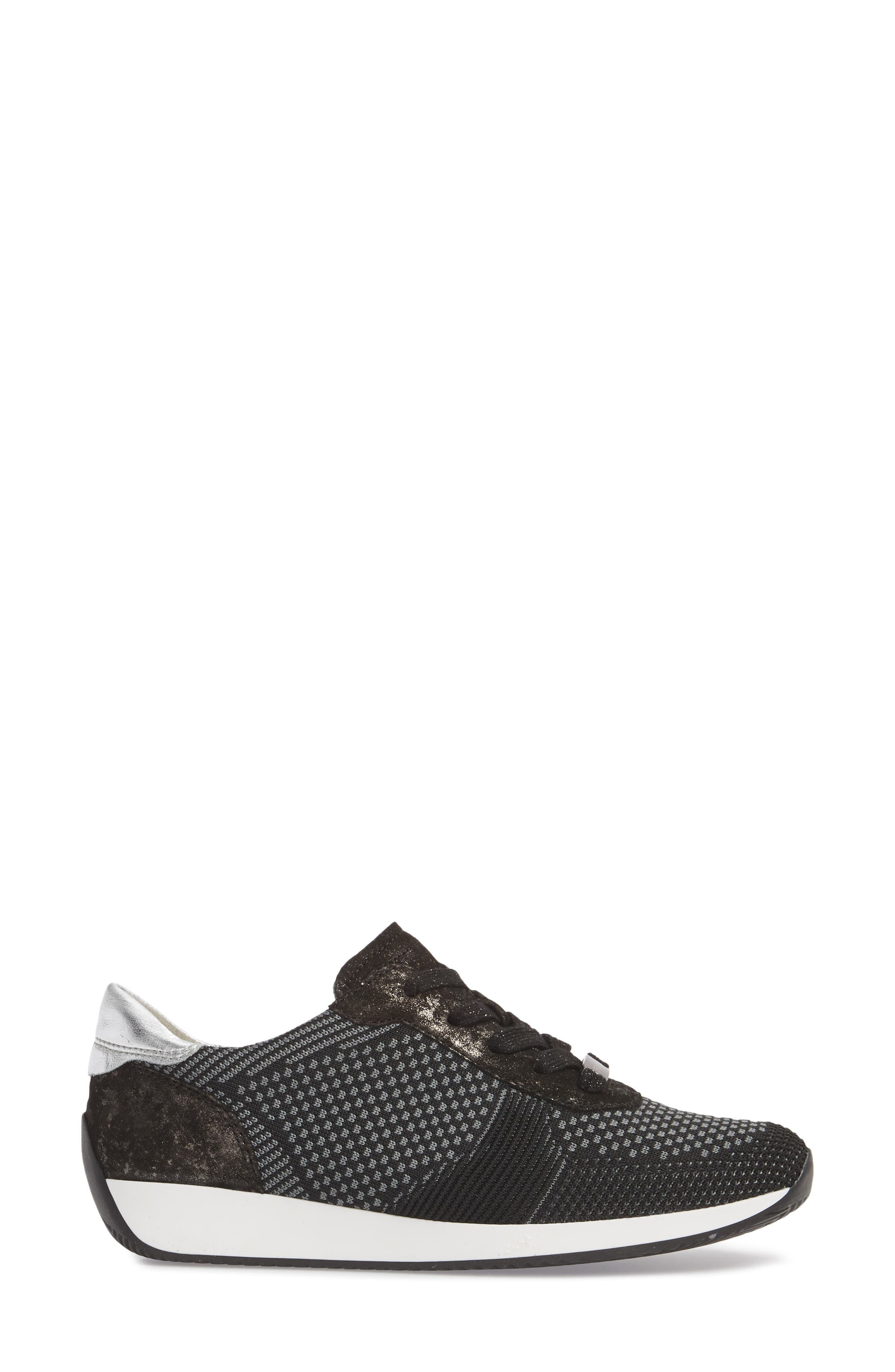 Lilly Sneaker,                             Alternate thumbnail 3, color,                             BLACK FABRIC