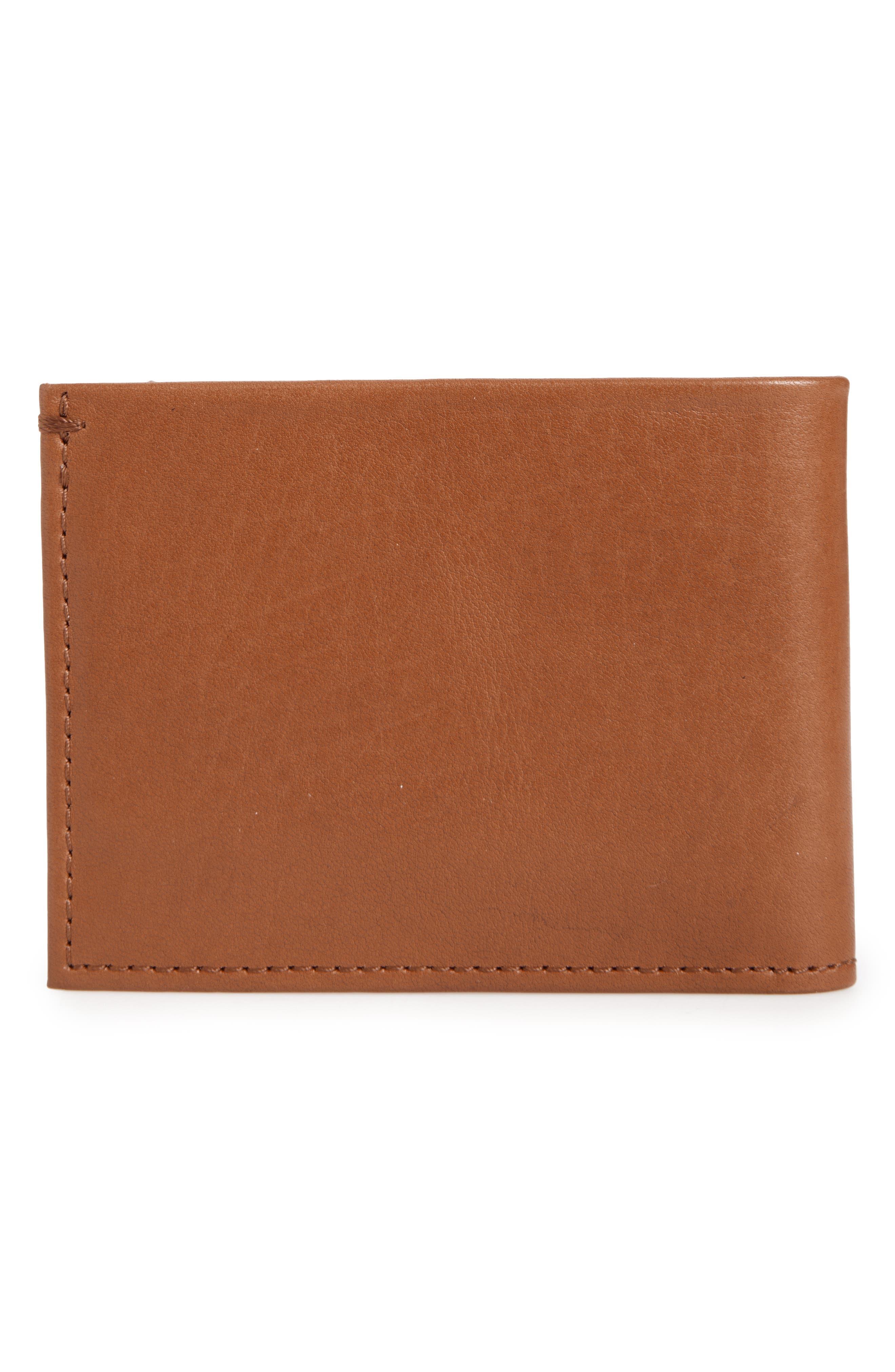 Slim Bifold Leather Wallet,                             Main thumbnail 1, color,                             BOURBON