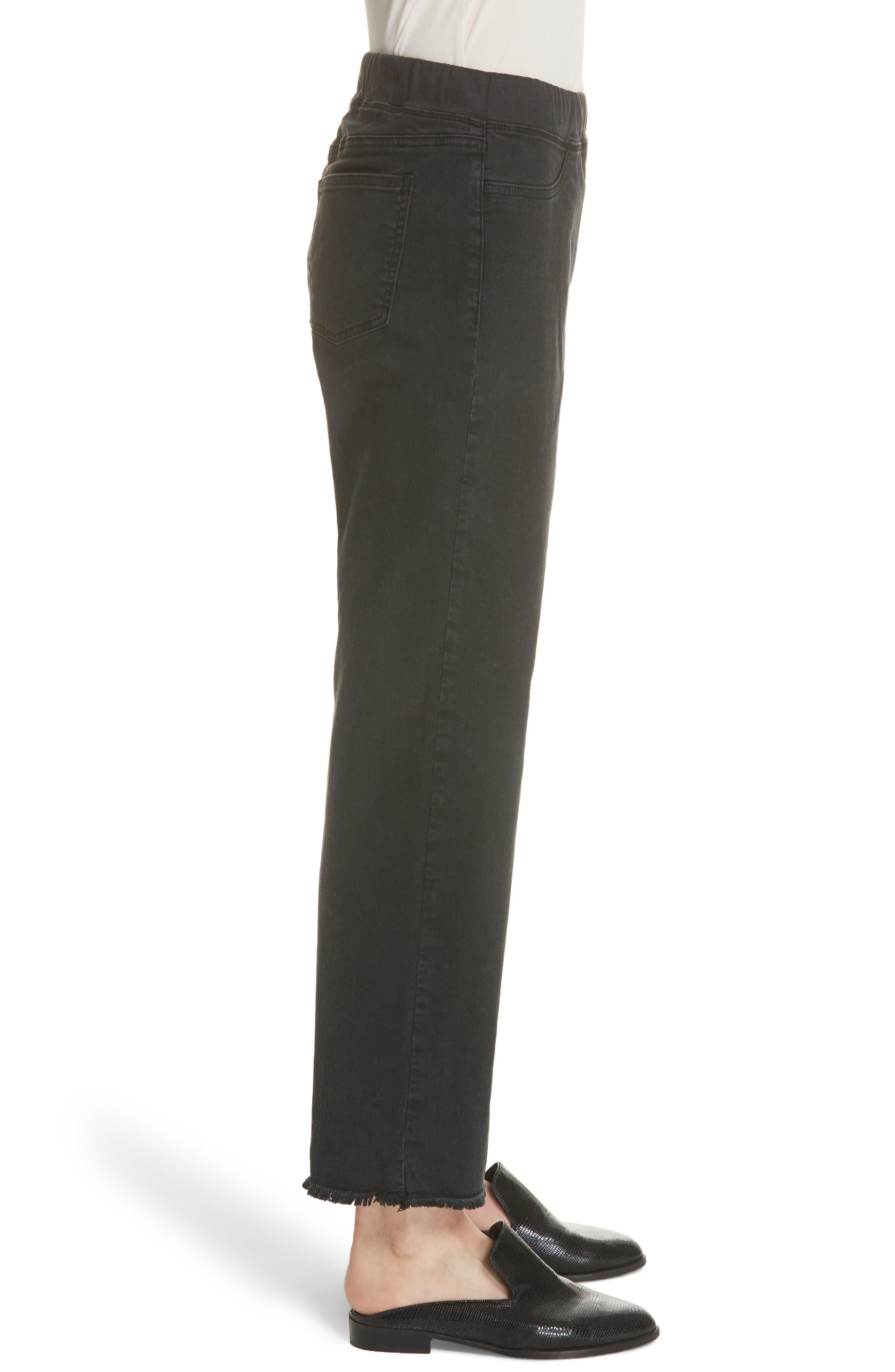 Frayed Hem Pull-On Ankle Jeans,                             Alternate thumbnail 3, color,                             WASHED BLACK
