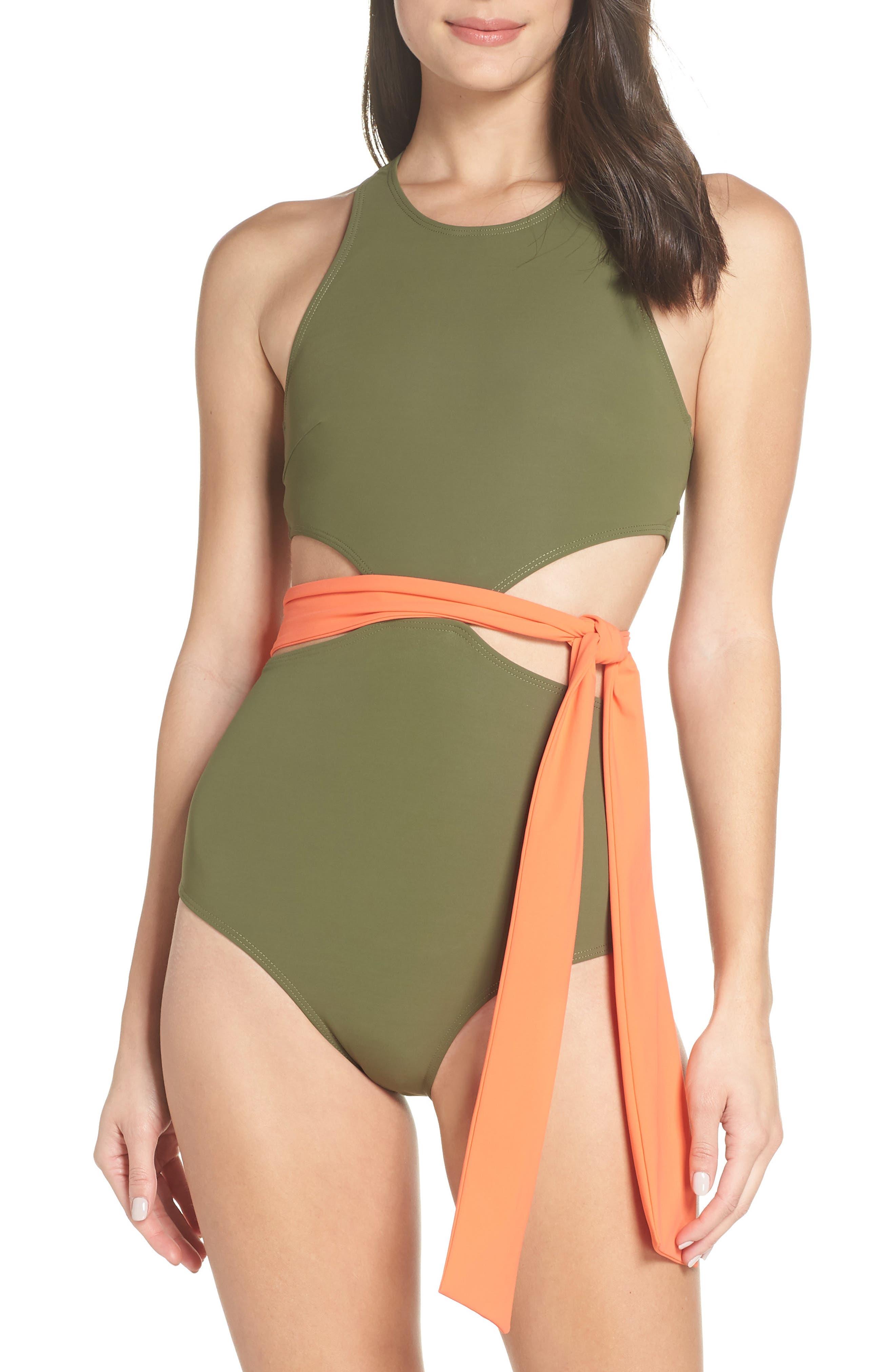FLAGPOLE Lynn One-Piece Sash Swimsuit in Olive/ Papaya