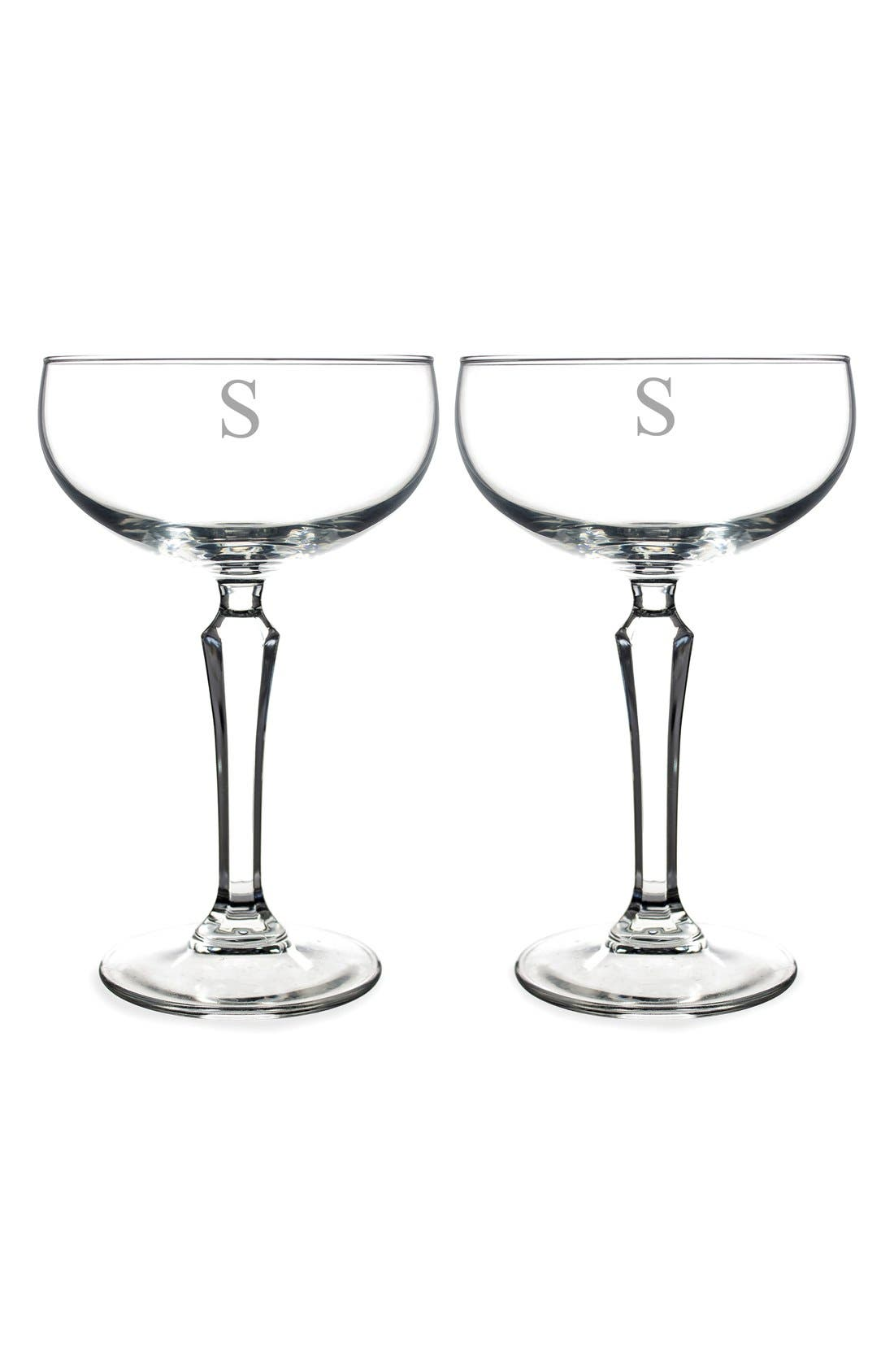 Monogram Coupe Cocktail/Champagne Glasses,                             Main thumbnail 21, color,