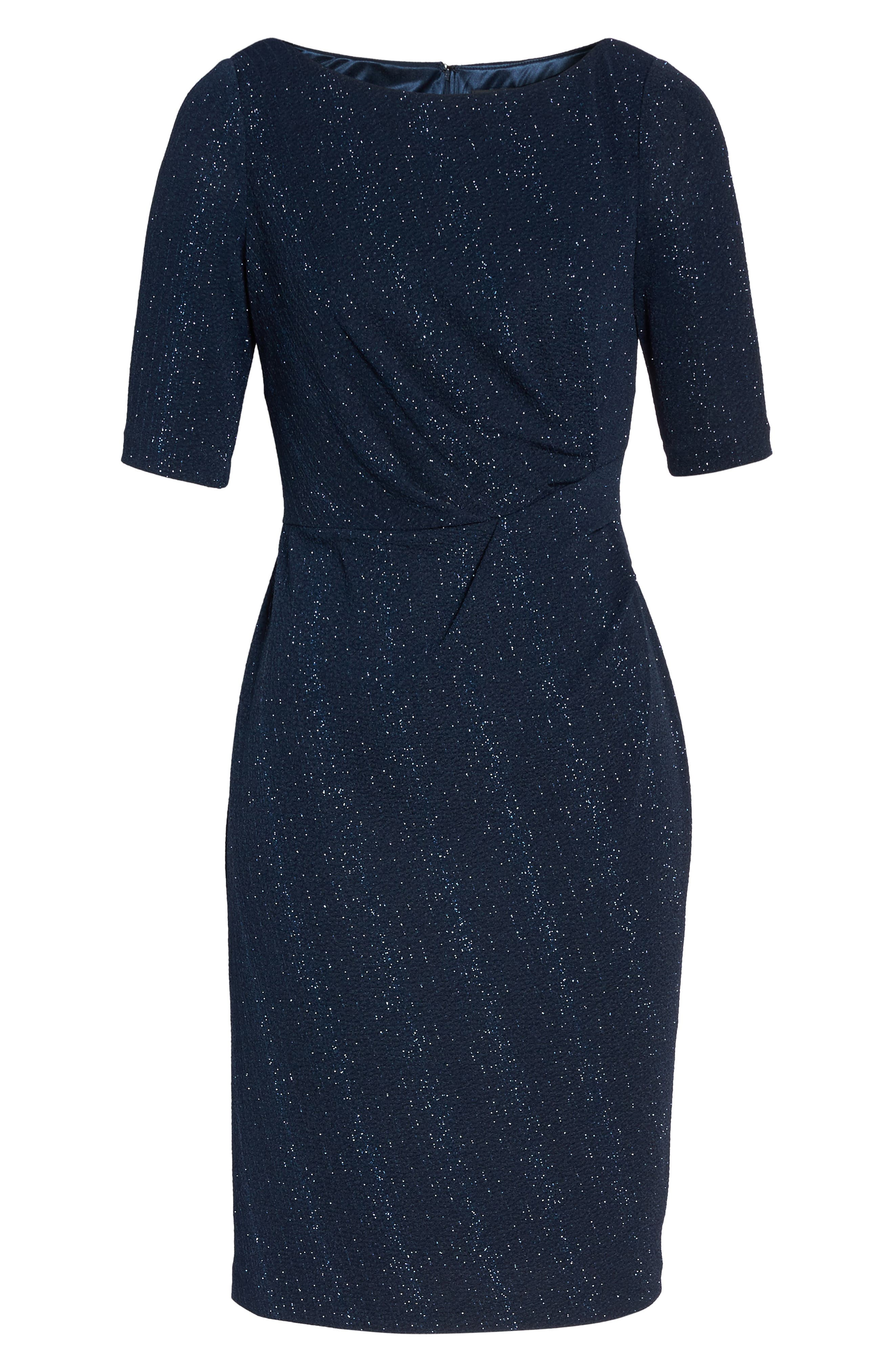 Glitter Knit Sheath Dress,                             Alternate thumbnail 6, color,                             410
