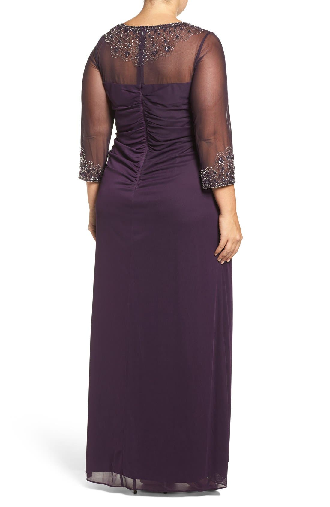 Beaded Illusion Neck A-Line Gown,                             Alternate thumbnail 8, color,