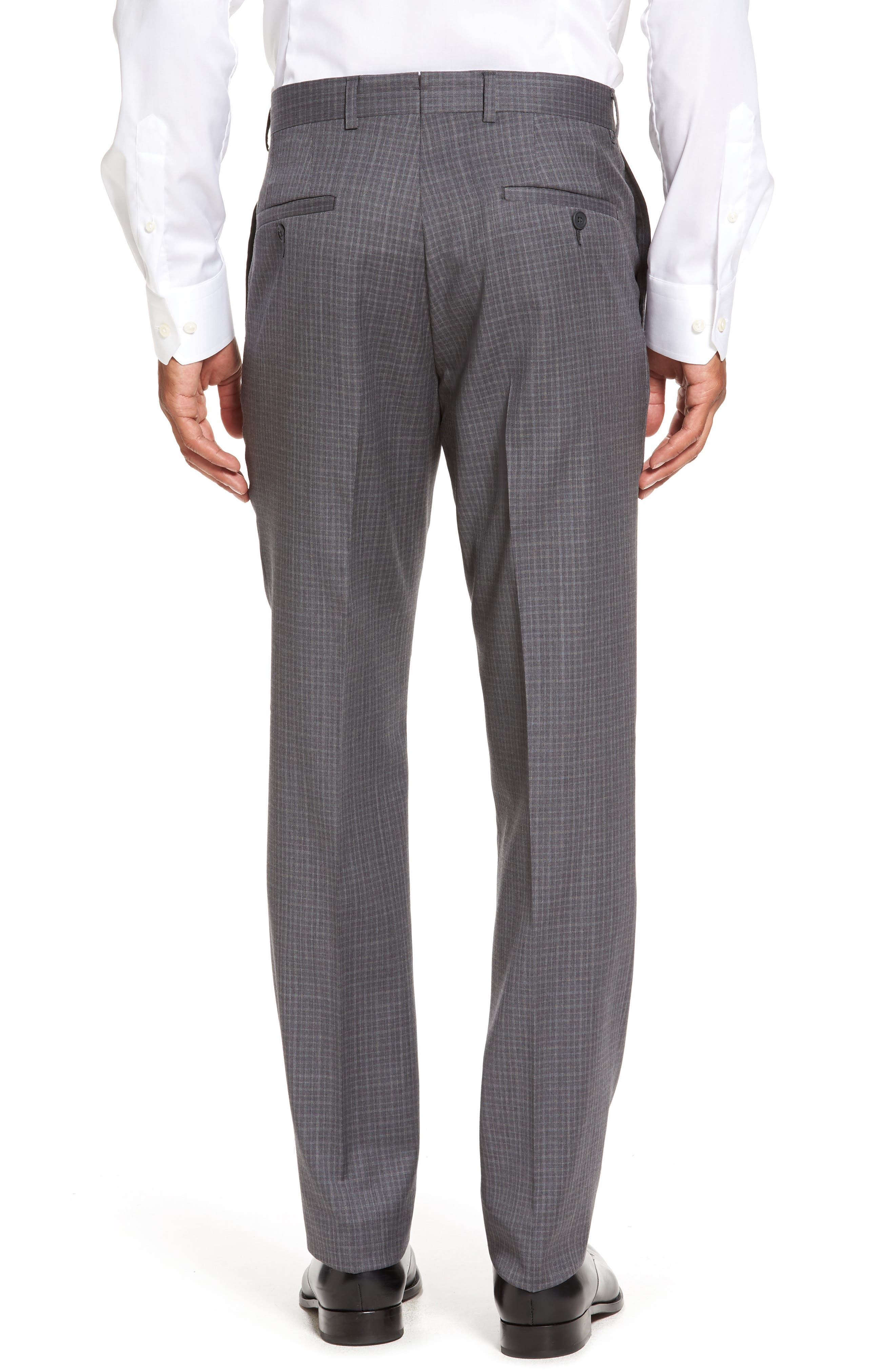 Flat Front Wool Trousers,                             Alternate thumbnail 3, color,                             099
