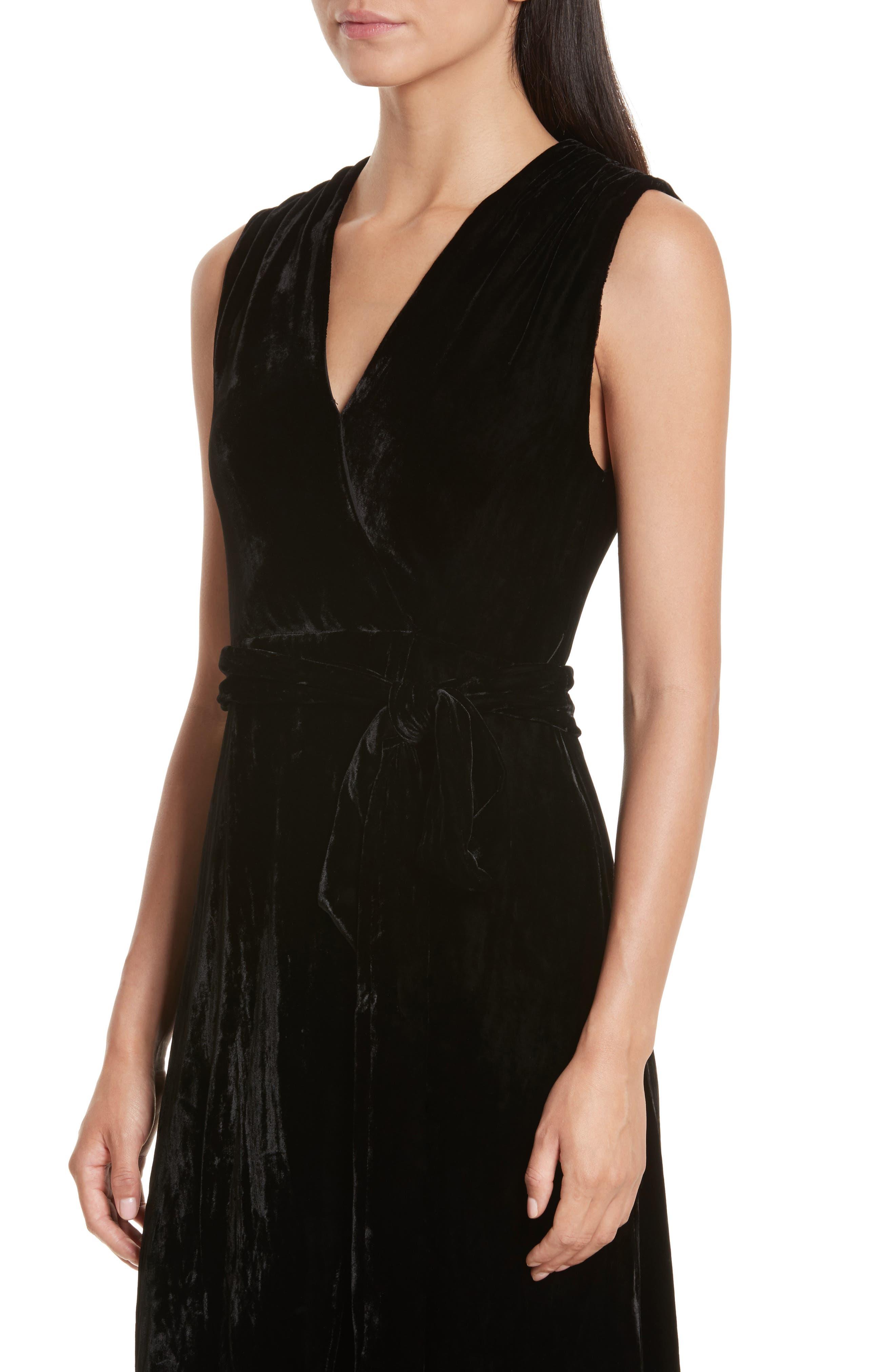 Simmons Velvet Wrap Maxi Dress,                             Alternate thumbnail 4, color,                             001