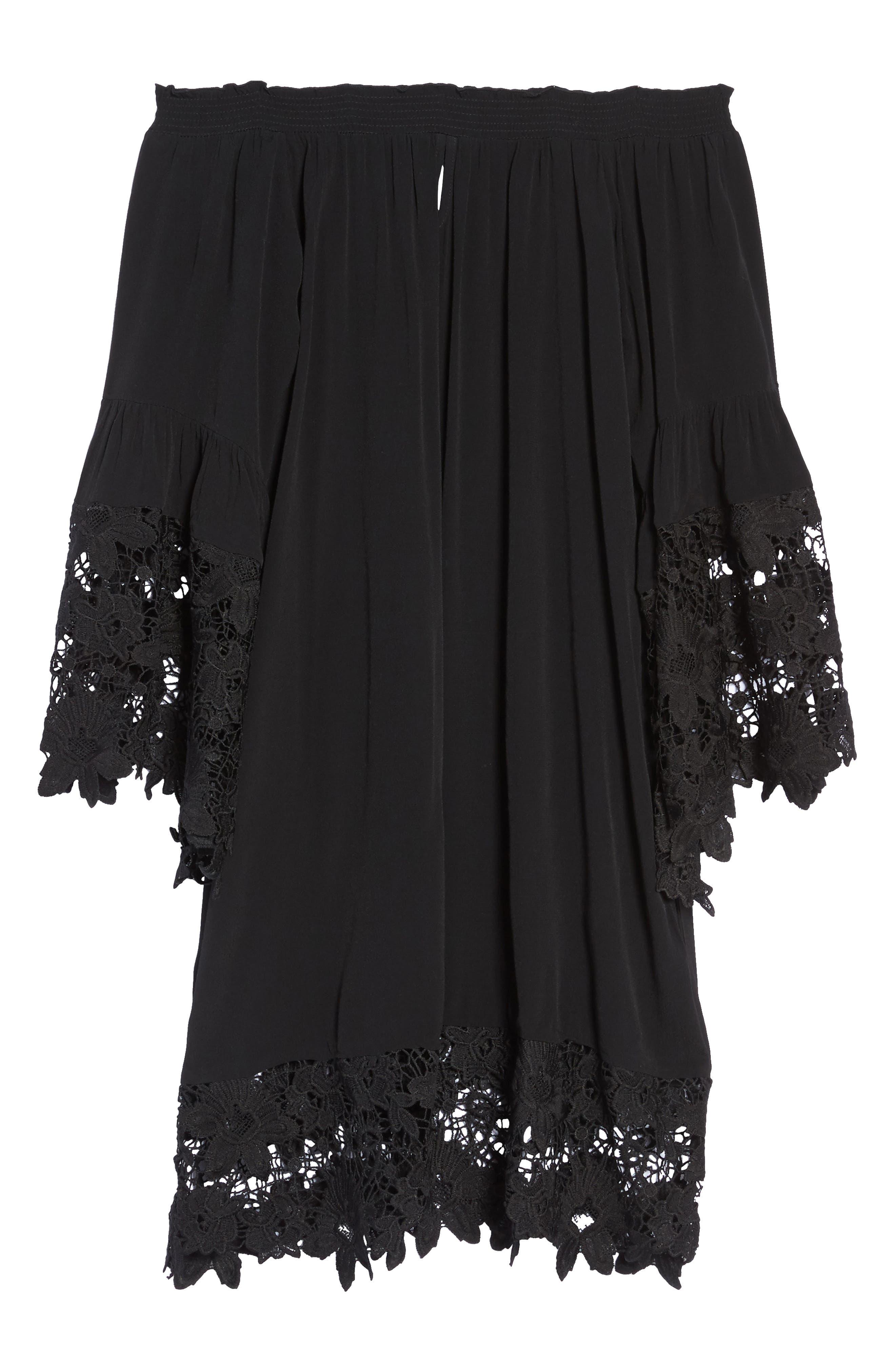 Jolie Lace Accent Cover-Up Dress,                             Alternate thumbnail 6, color,                             001