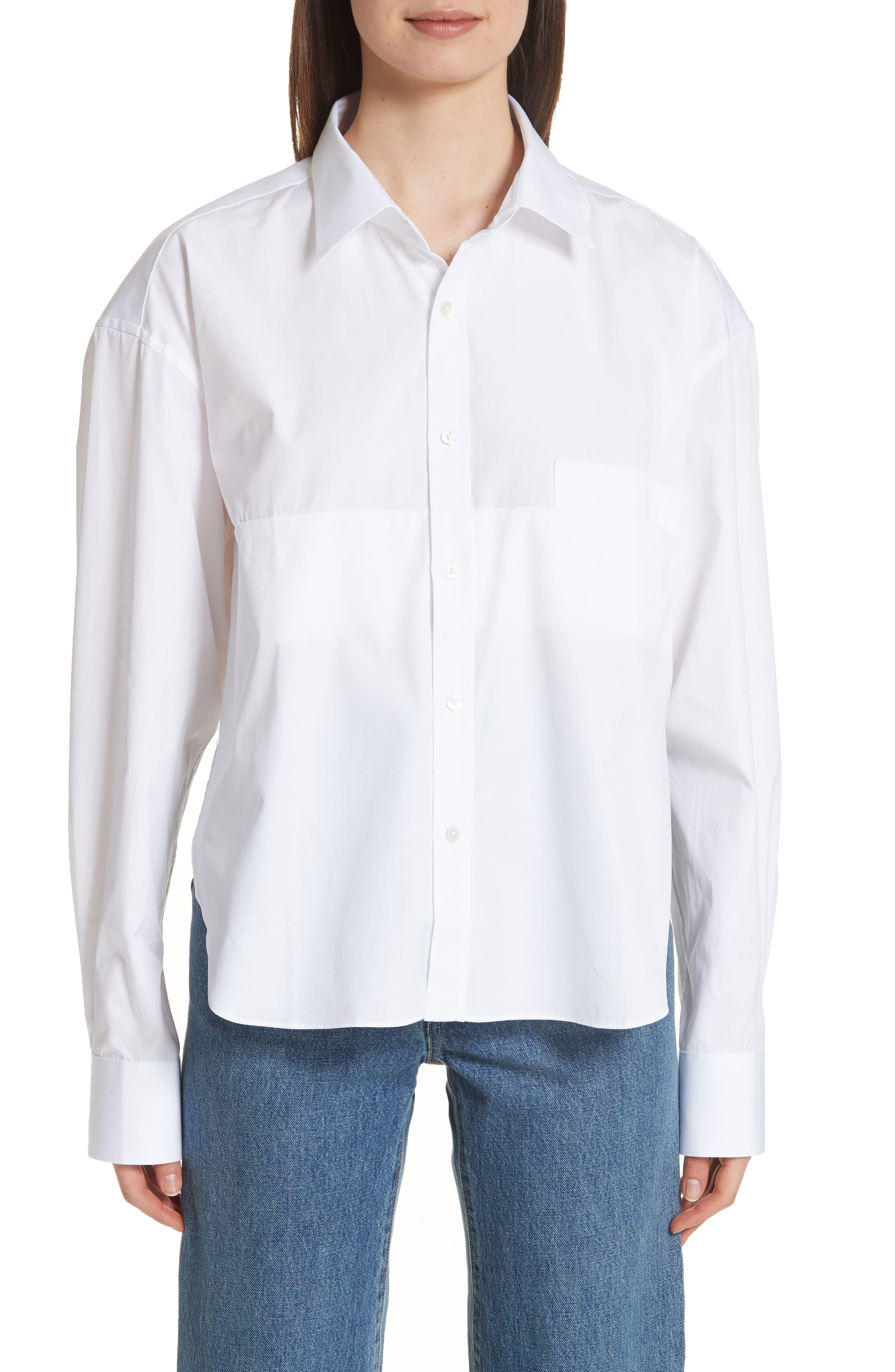 Crop Cotton Shirt,                             Main thumbnail 1, color,                             100
