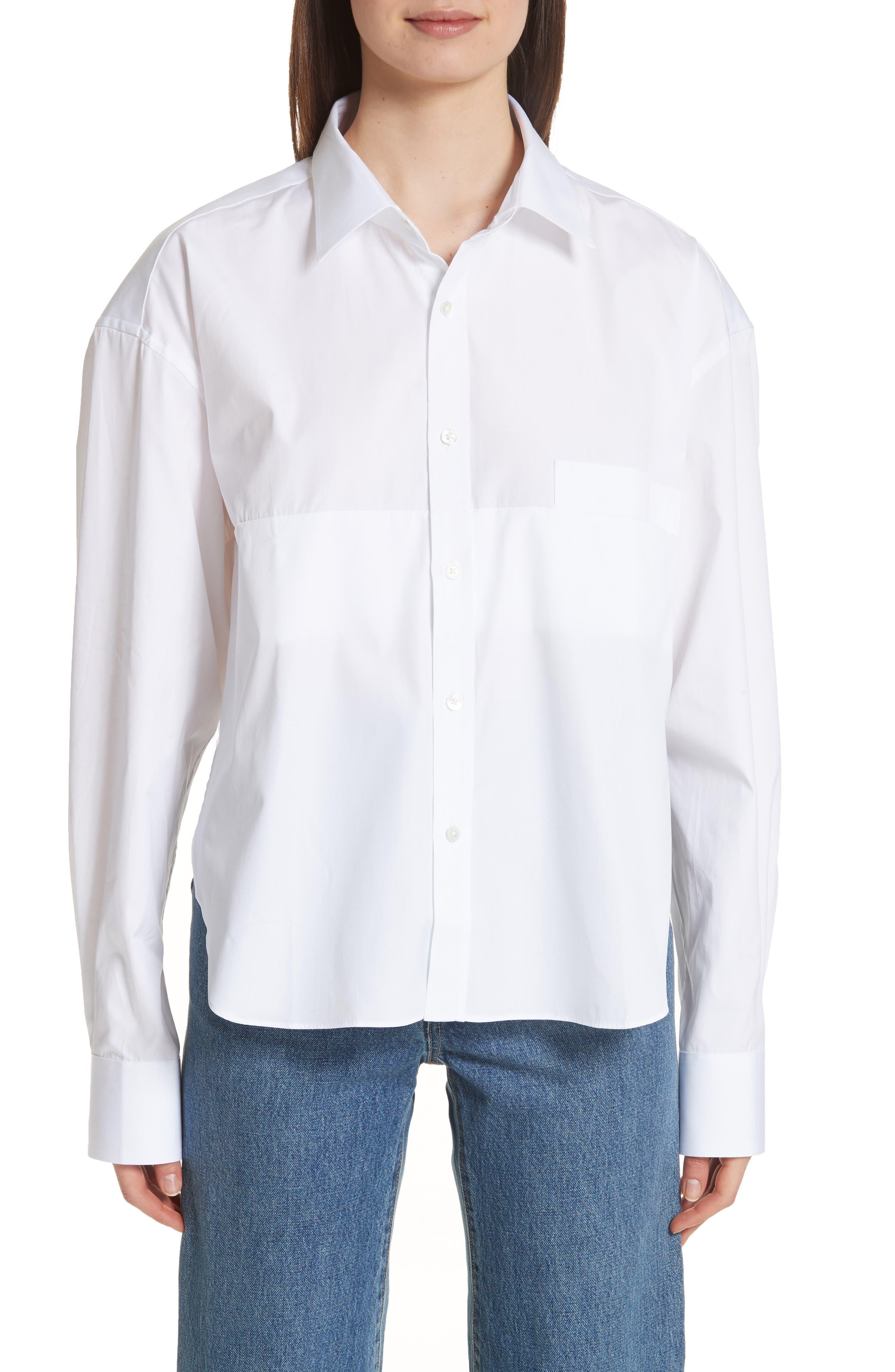 Crop Cotton Shirt,                         Main,                         color, 100