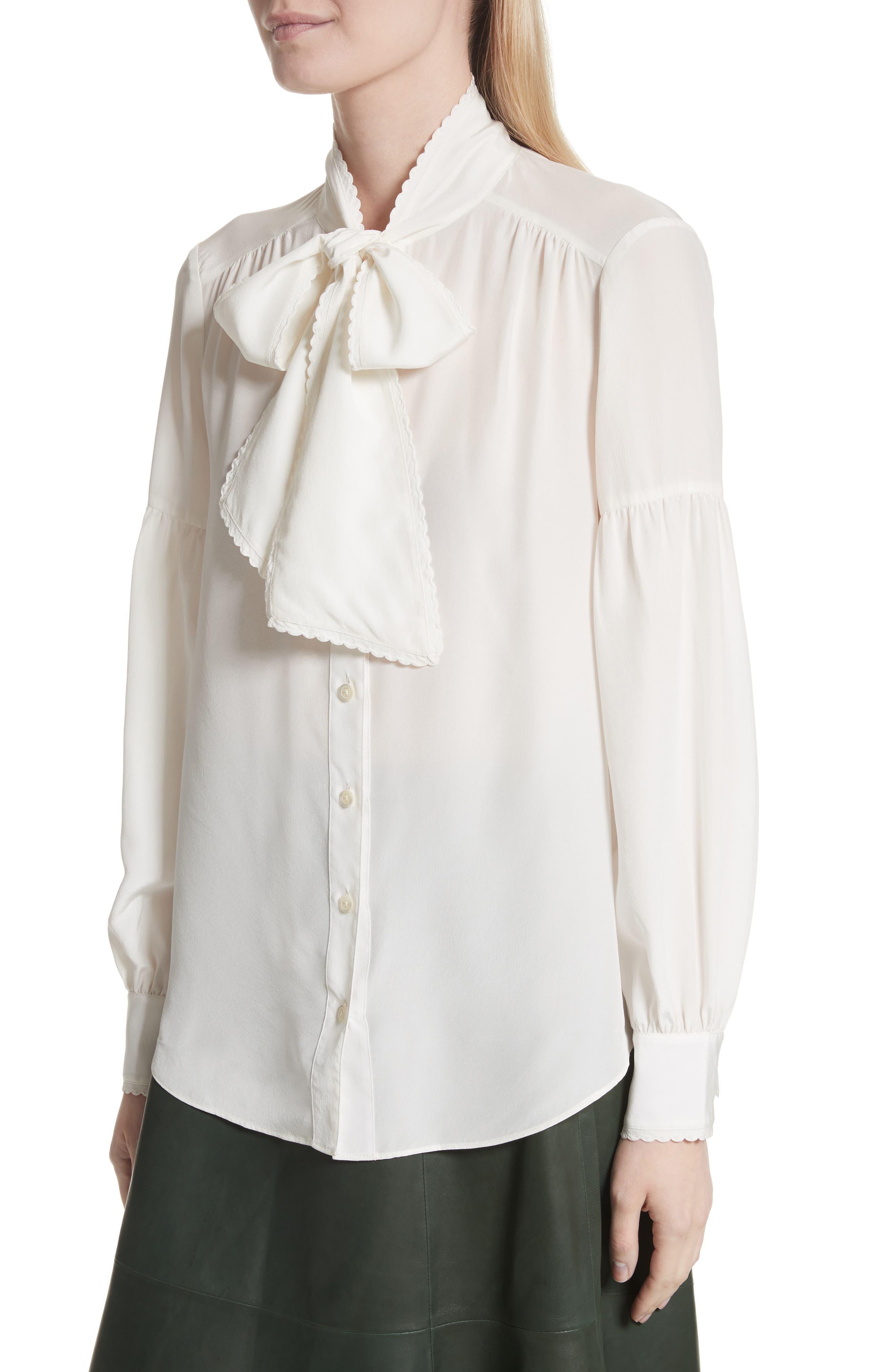 myrah tie neck silk blouse,                             Alternate thumbnail 4, color,                             902