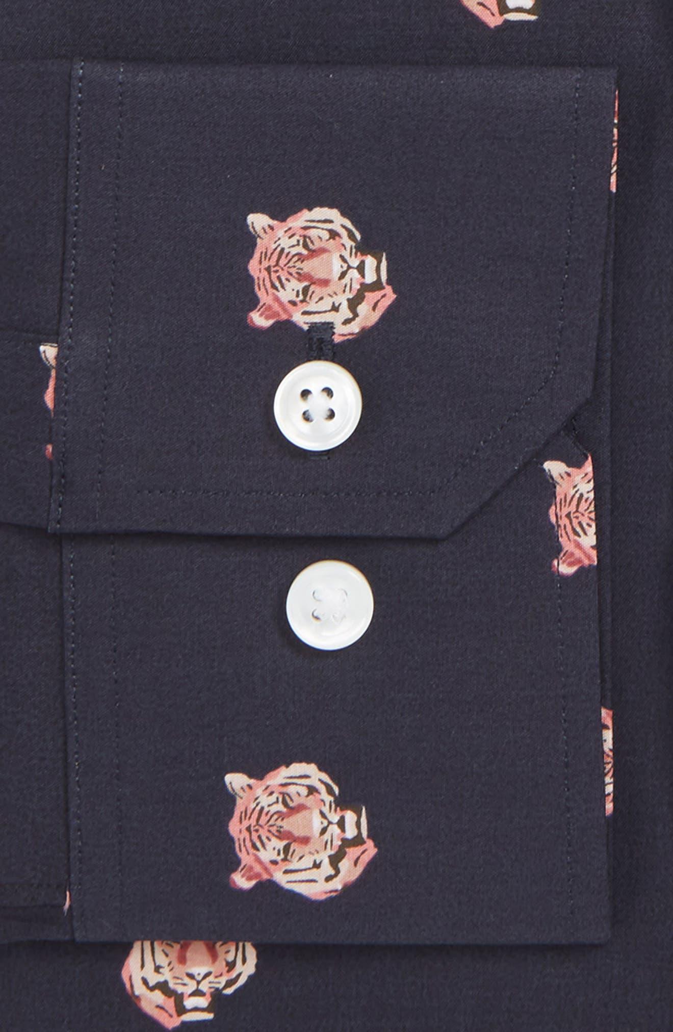 Tiger Head Slim Fit Stretch Print Dress Shirt,                             Alternate thumbnail 2, color,                             001