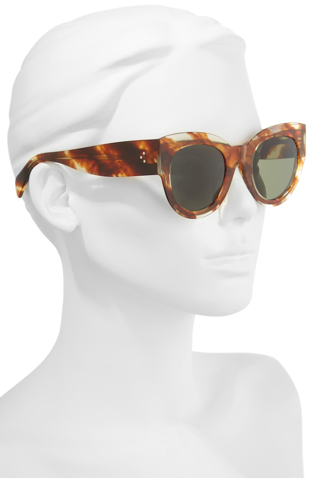 Special Fit 50mm Cat Eye Sunglasses,                             Alternate thumbnail 2, color,                             STRIPED COGNAC HAVANA/ GREEN