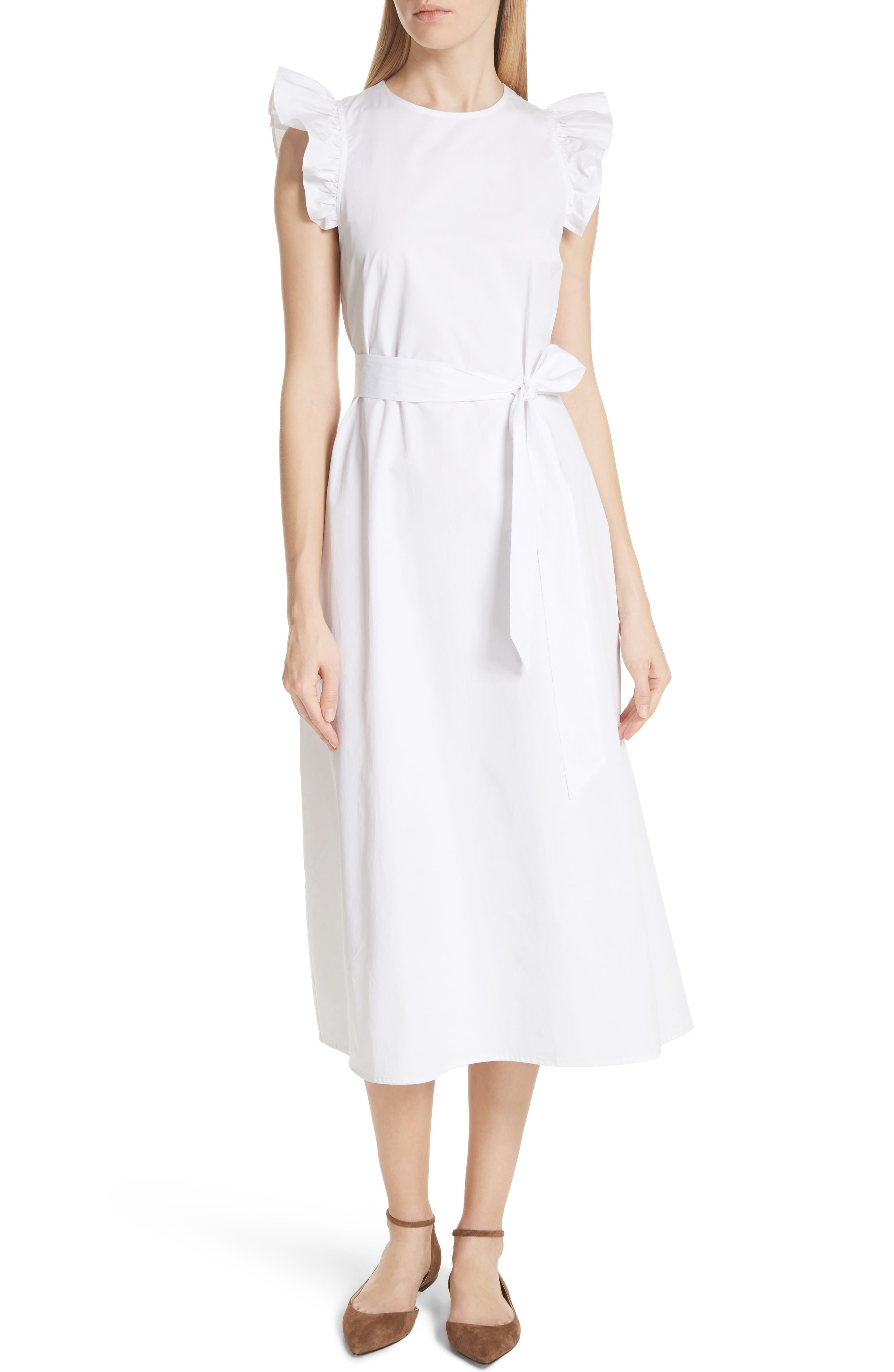 ruffle cotton poplin dress,                             Alternate thumbnail 5, color,                             107