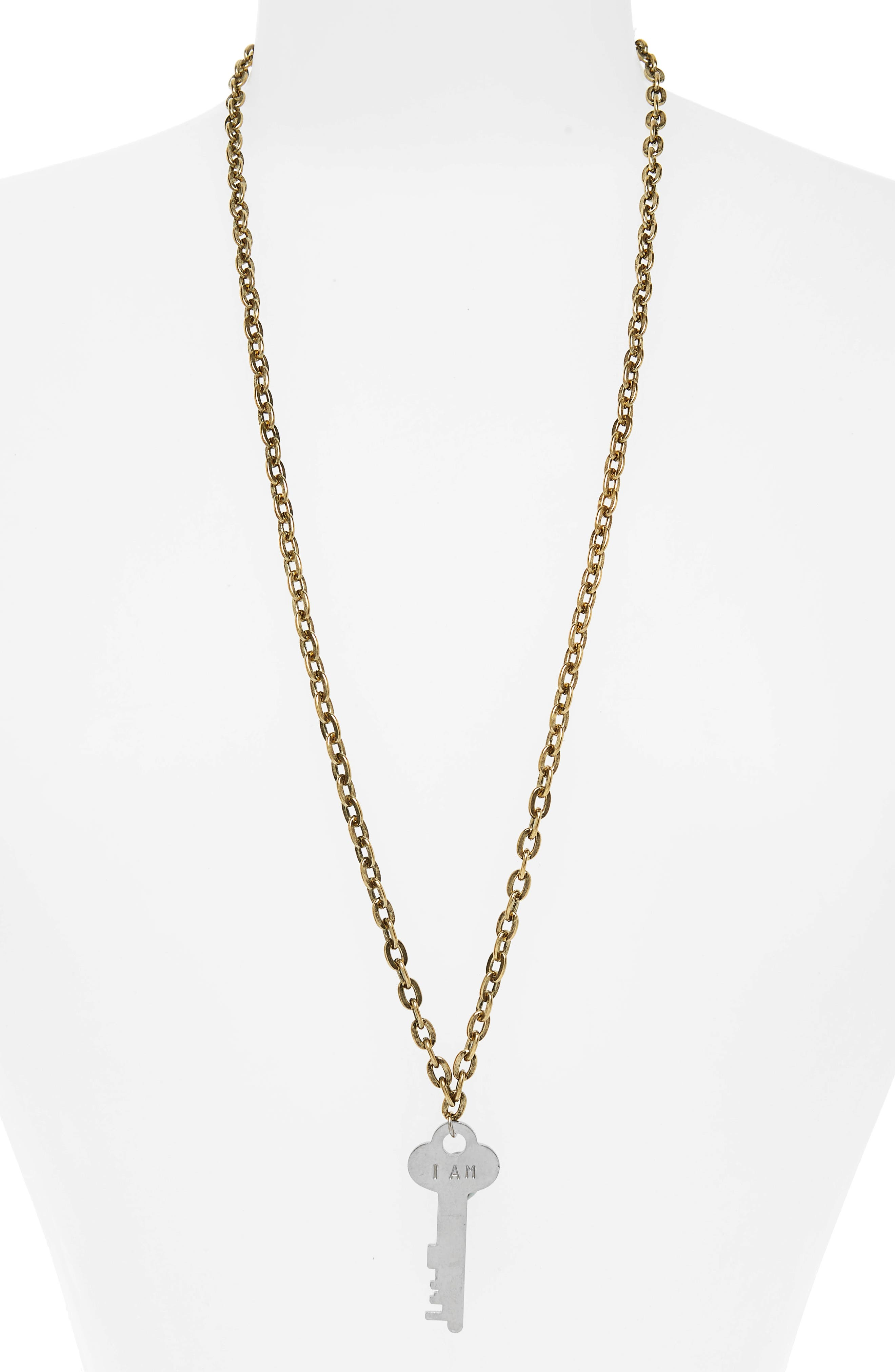 I Am Grateful Key Charm Necklace,                         Main,                         color, GOLD/ SILVER KEY