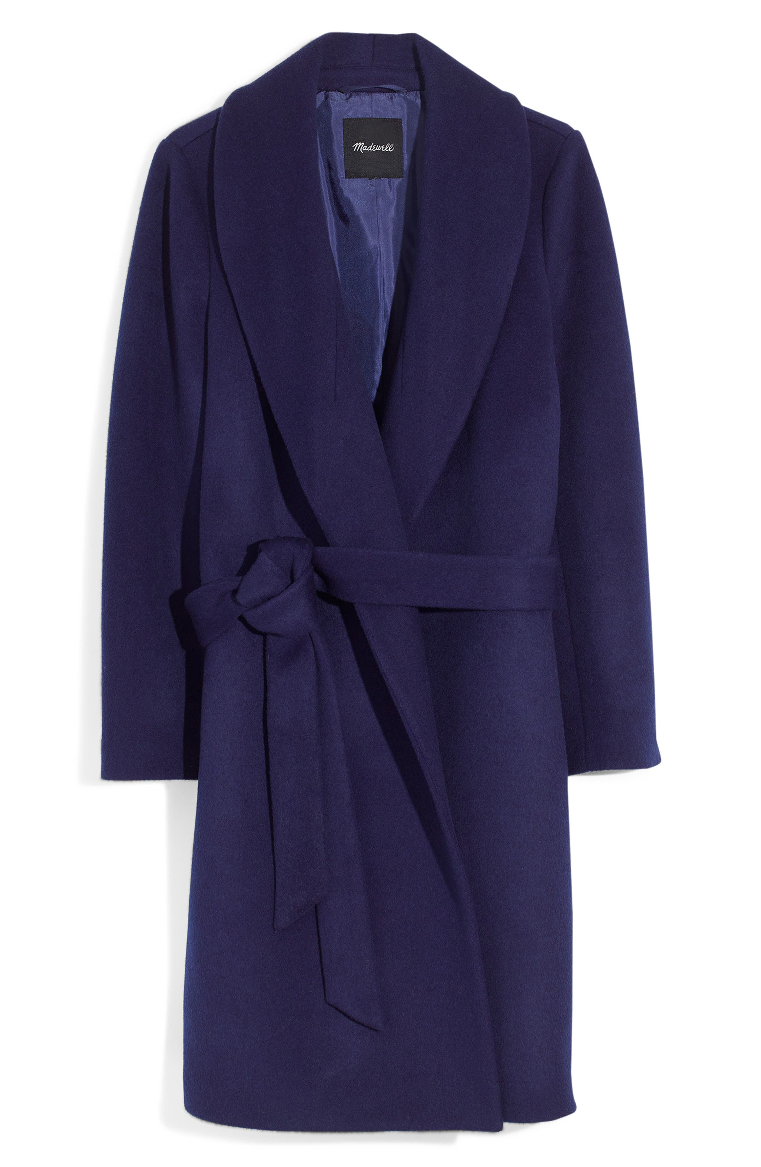 Shawl Collar Wrap Coat,                             Alternate thumbnail 3, color,                             NIGHT SKY