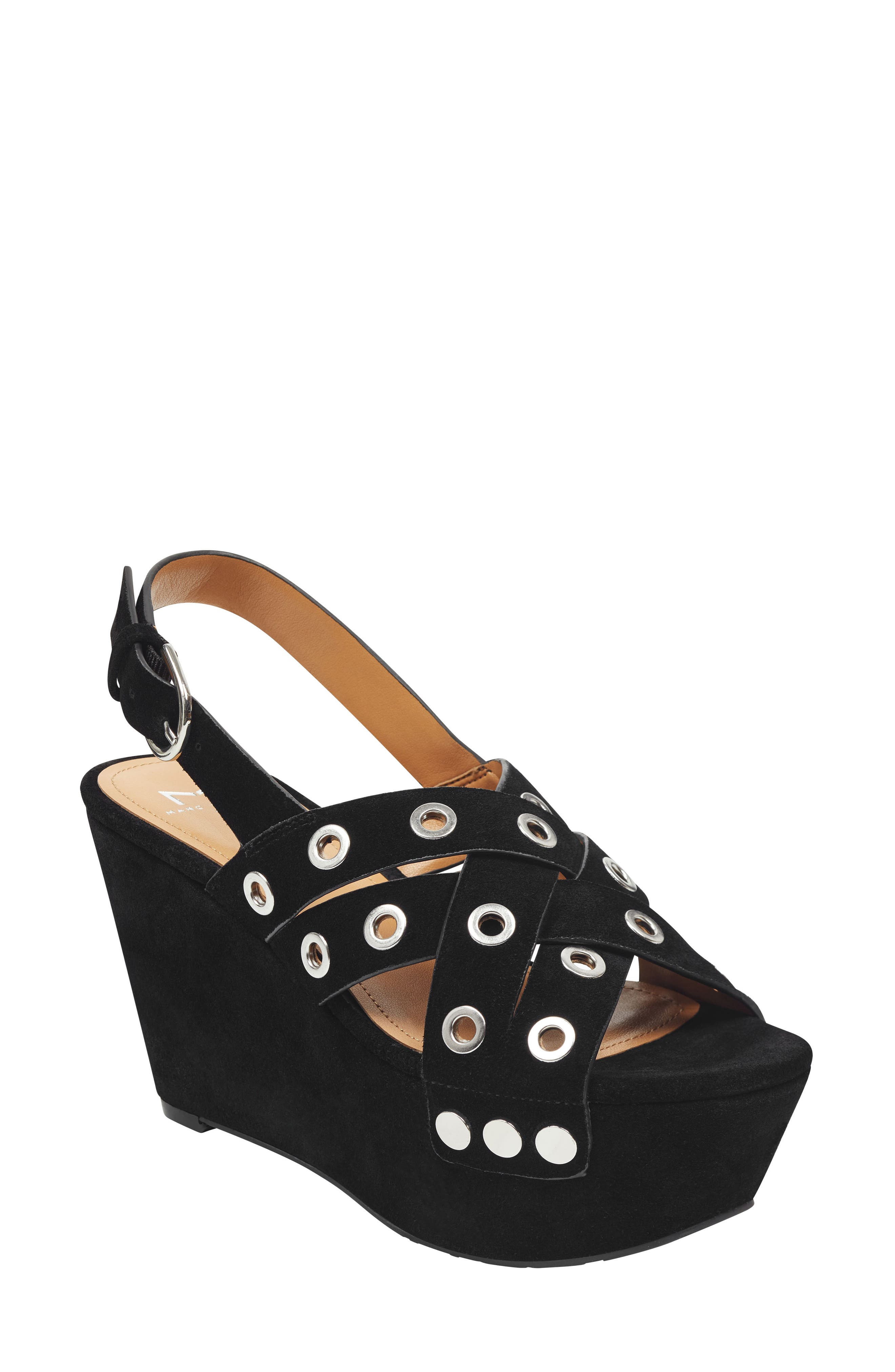 Bloom Platform Sandal,                         Main,                         color, BLACK SUEDE