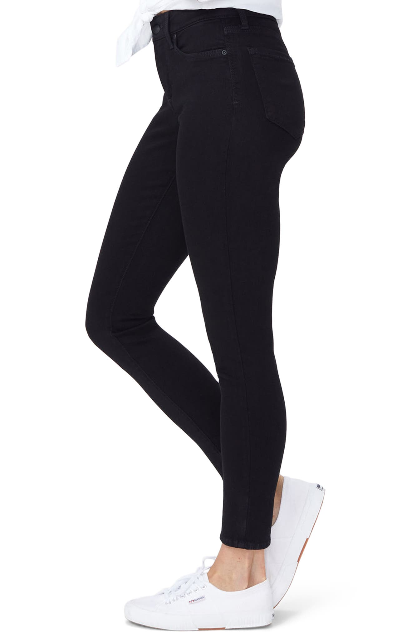 Ami Stretch Super Skinny Jeans,                             Alternate thumbnail 3, color,                             001