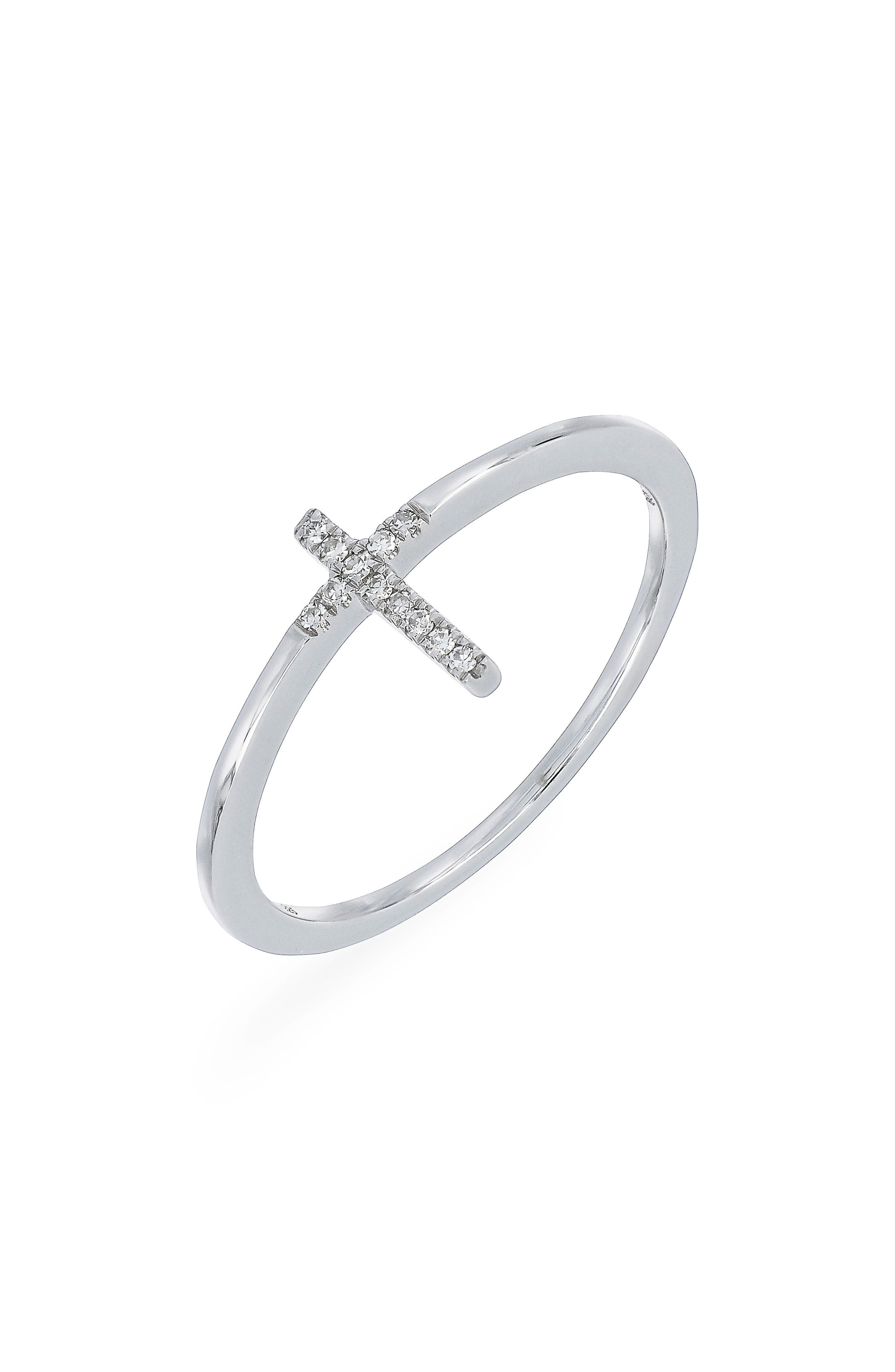 Carrière Diamond Cross Ring,                         Main,                         color, STERLING SILVER/ DIAMOND