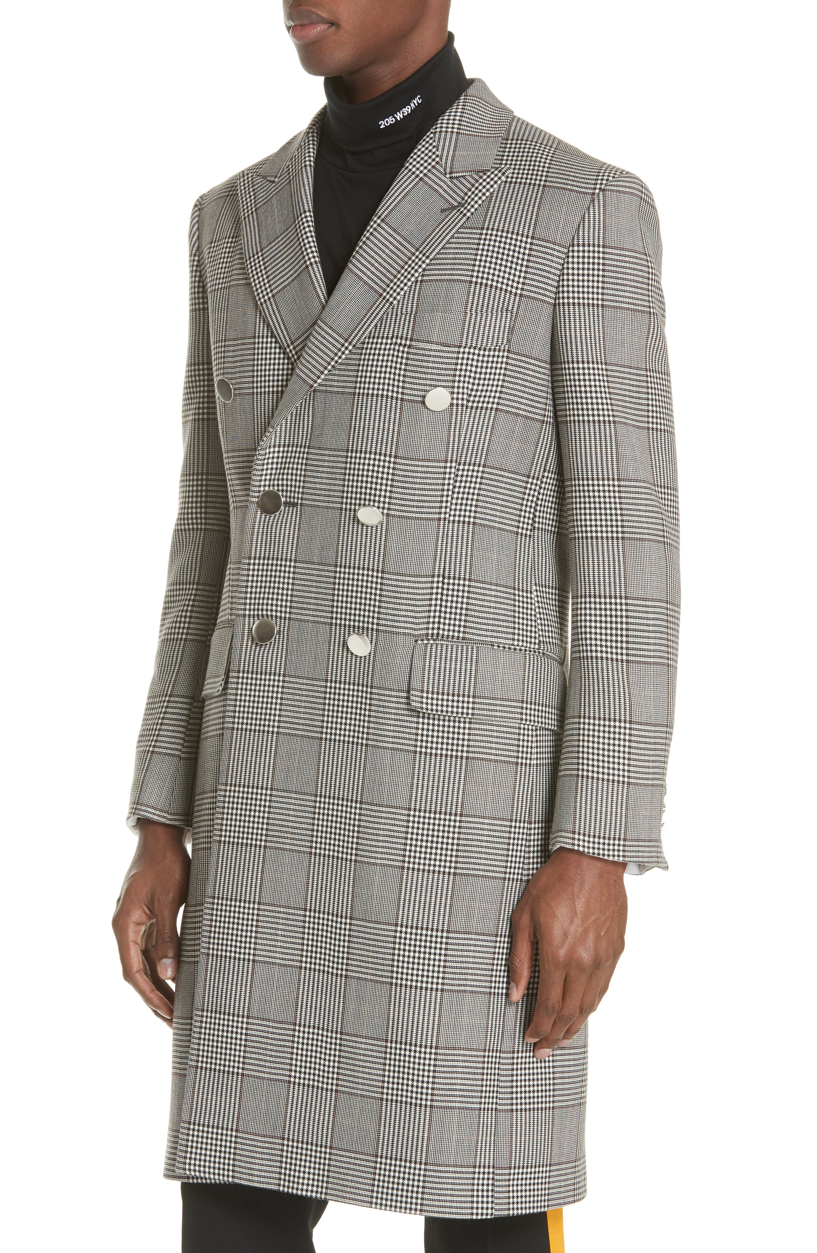Plaid Overcoat,                             Alternate thumbnail 4, color,                             BROWN