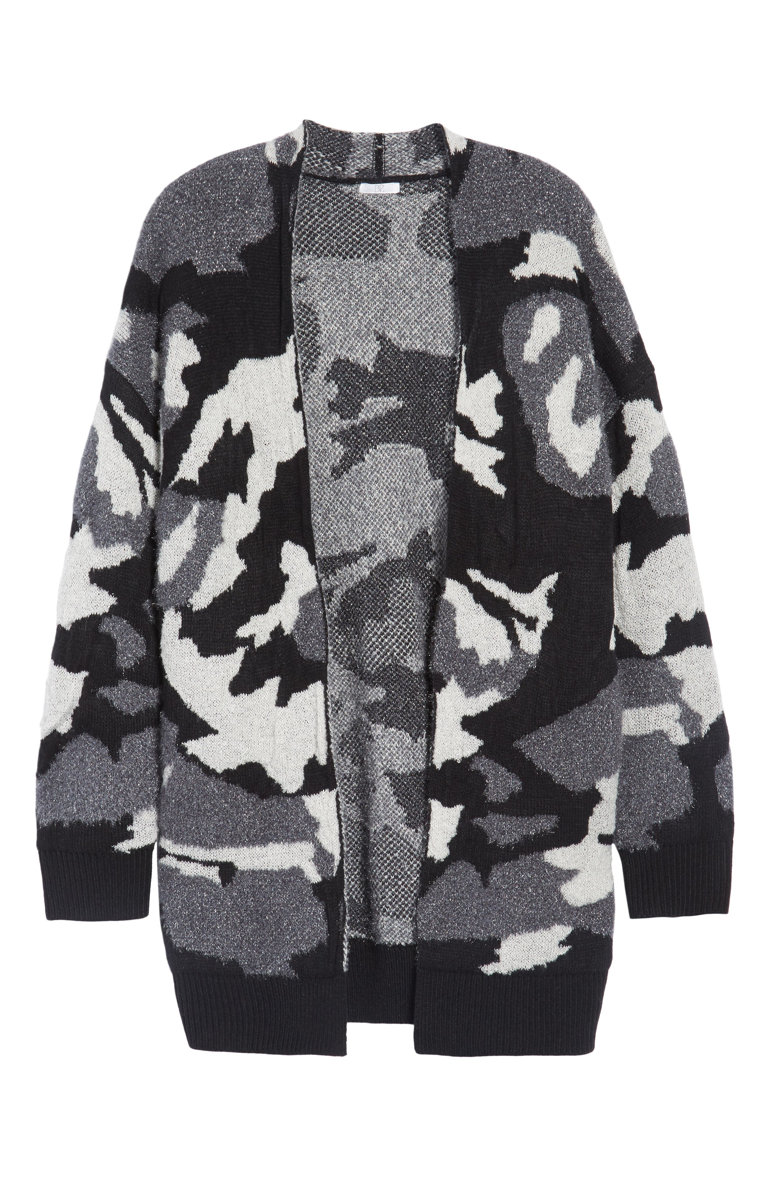 Camouflage Knit Cardigan,                             Alternate thumbnail 6, color,                             001