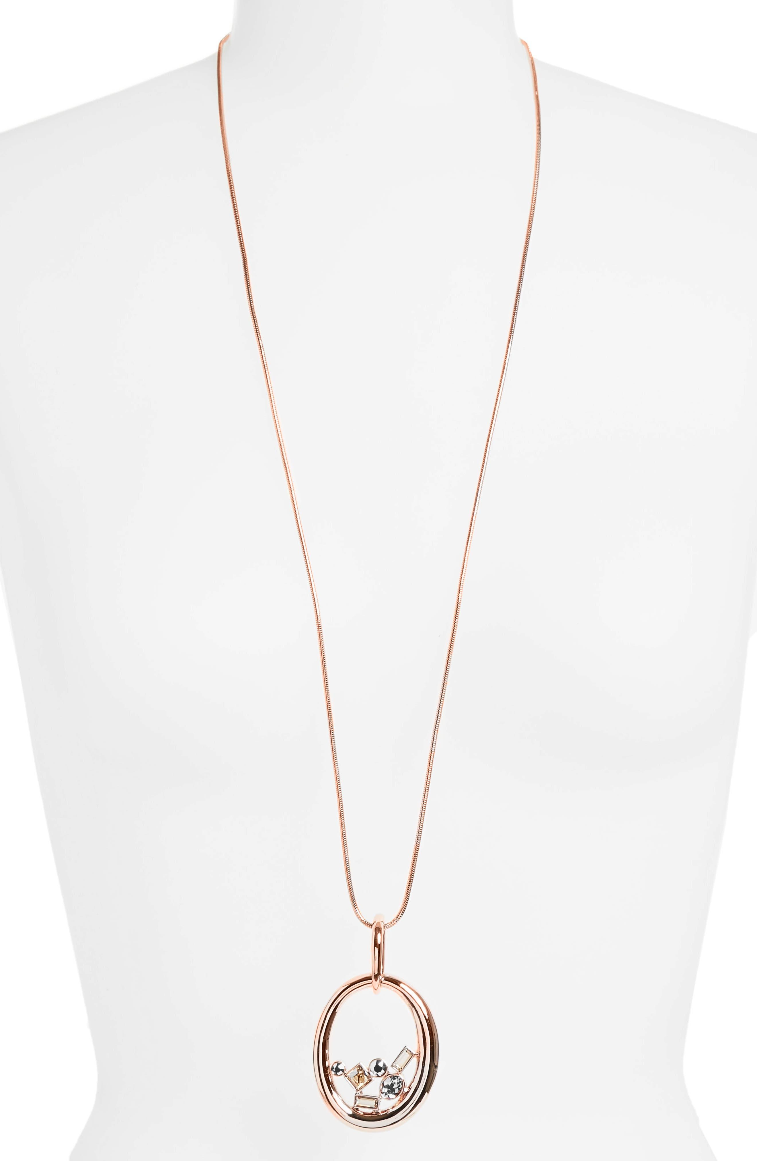 Swarovski Crystal Oval Pendant,                             Alternate thumbnail 2, color,                             CRYSTAL ROSE GOLD/ ROSE